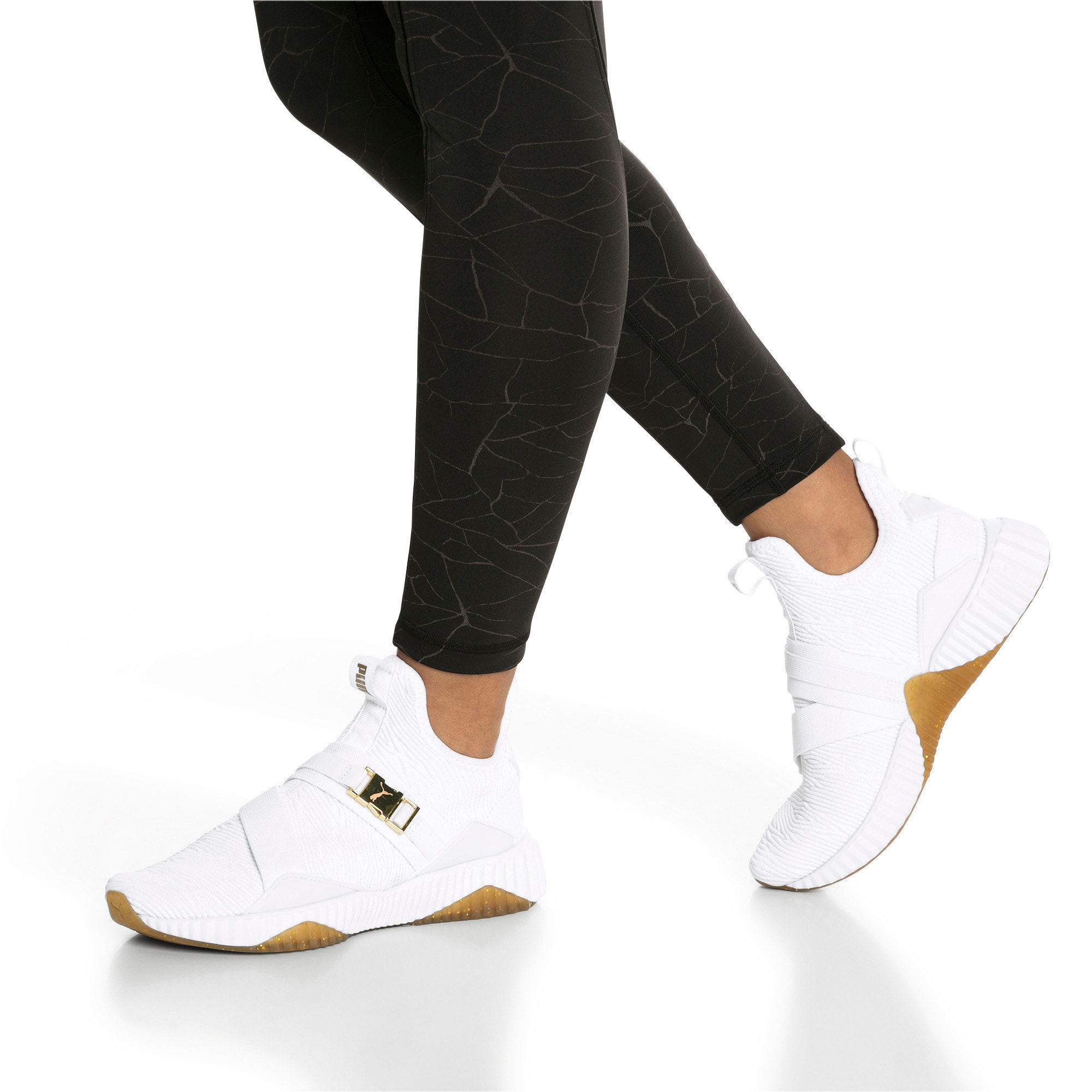 Thumbnail 2 of Defy Varsity Mid Women's Trainers, Puma White-Metallic Gold, medium-IND