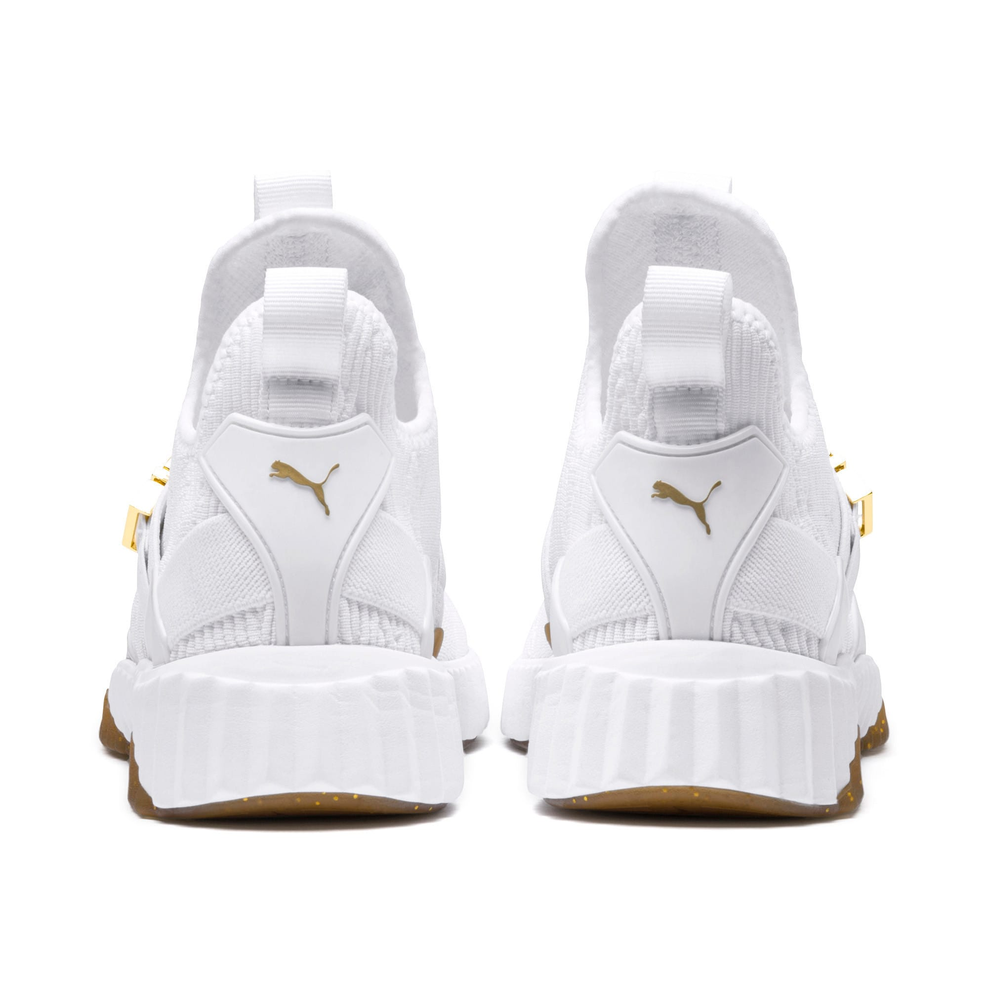Thumbnail 5 of Defy Varsity Mid Women's Trainers, Puma White-Metallic Gold, medium-IND