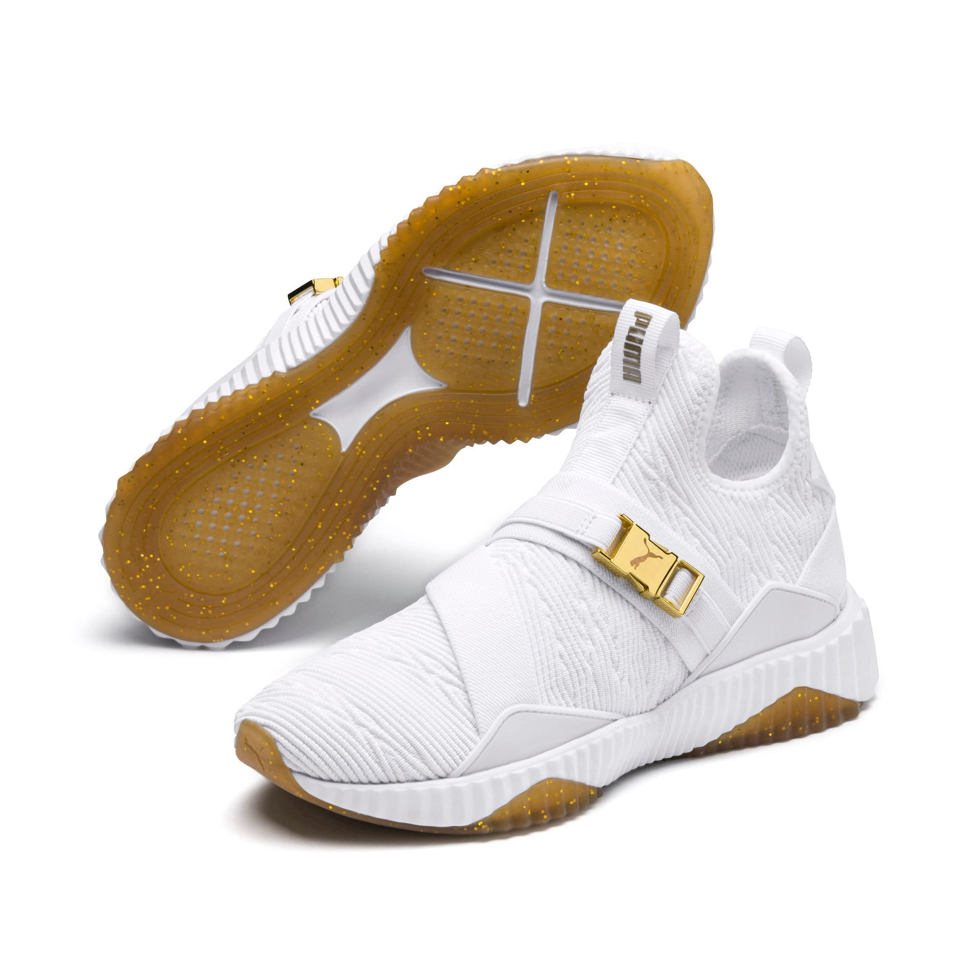 Thumbnail 7 of Defy Varsity Mid Women's Trainers, Puma White-Metallic Gold, medium-IND