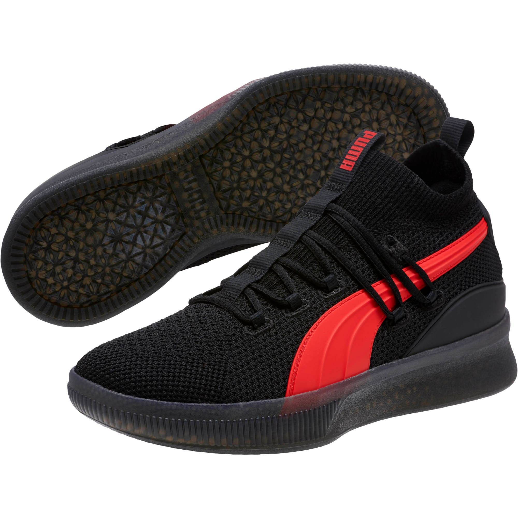 Thumbnail 2 of Clyde Court Core Basketball Shoes, Puma Black-High Risk Red, medium