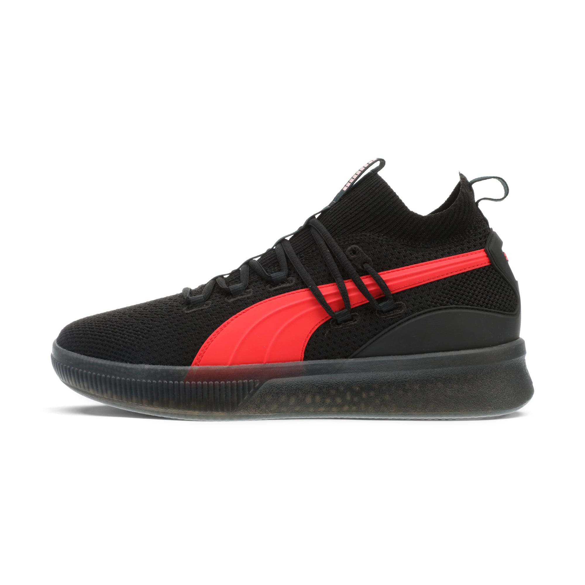 Thumbnail 1 of Clyde Court Core Basketball Shoes, Puma Black-High Risk Red, medium