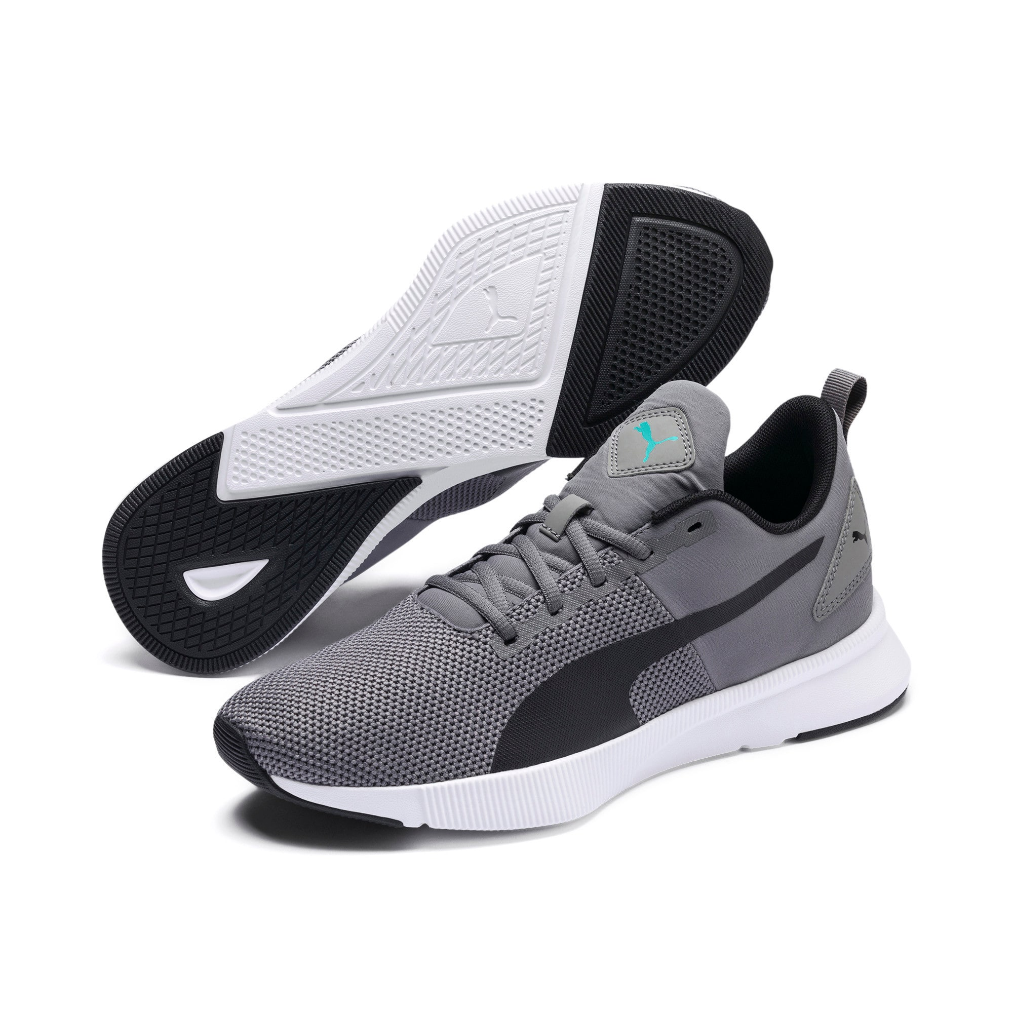 Thumbnail 2 of Flyer Runner Running Shoes, Charcoal-Black-Turquoise, medium