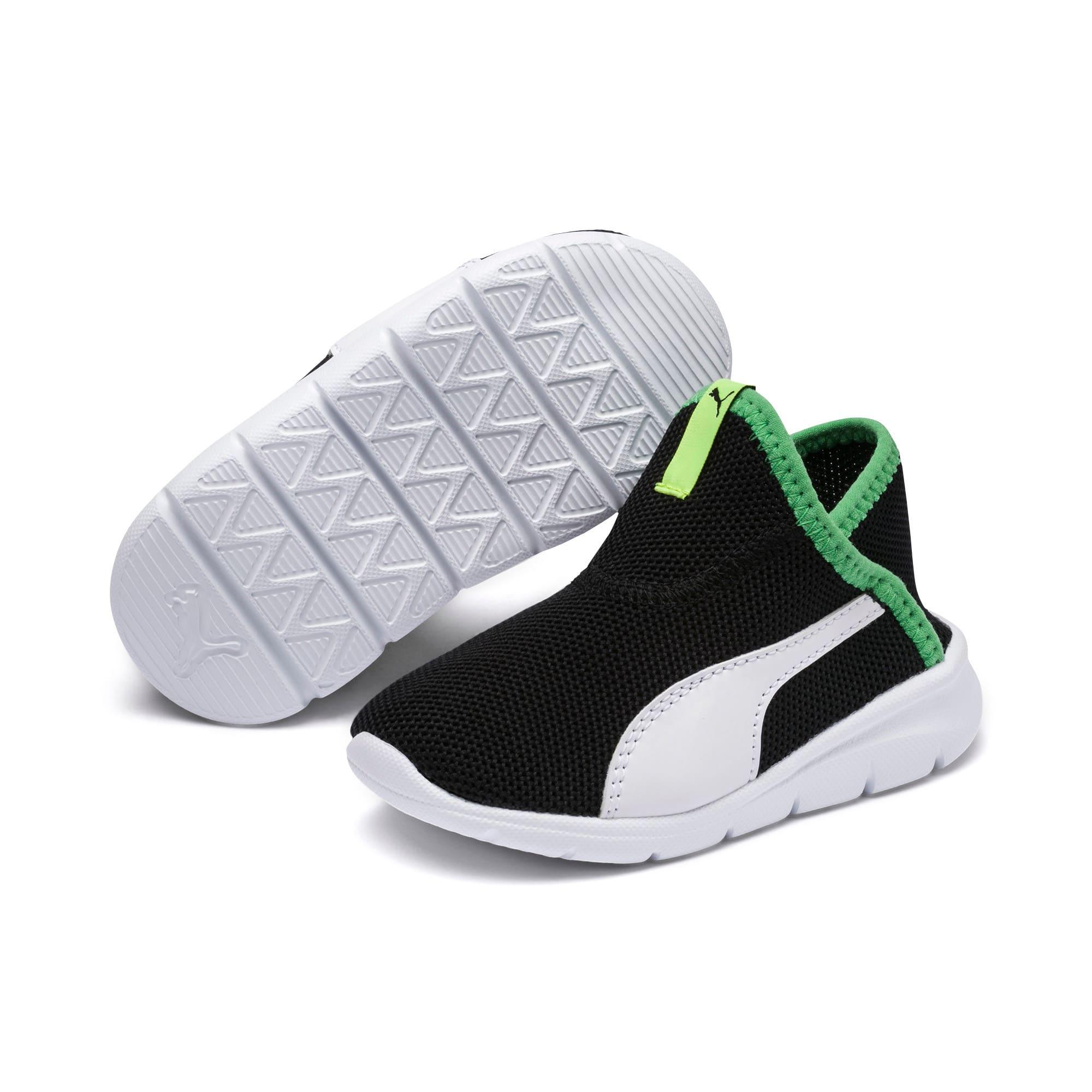 Thumbnail 2 of キッズ プーマ バオ 3 ソック PS 17-21cm, Puma Black-White-Irish Green, medium-JPN