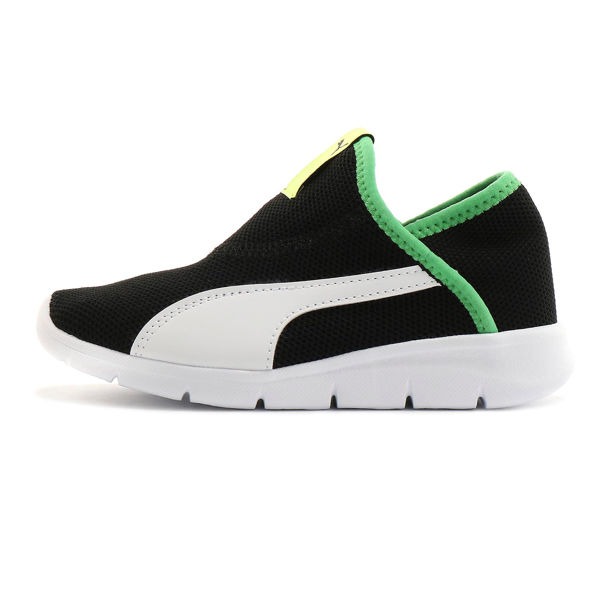 Thumbnail 1 of キッズ プーマ バオ 3 ソック PS 17-21cm, Puma Black-White-Irish Green, medium-JPN