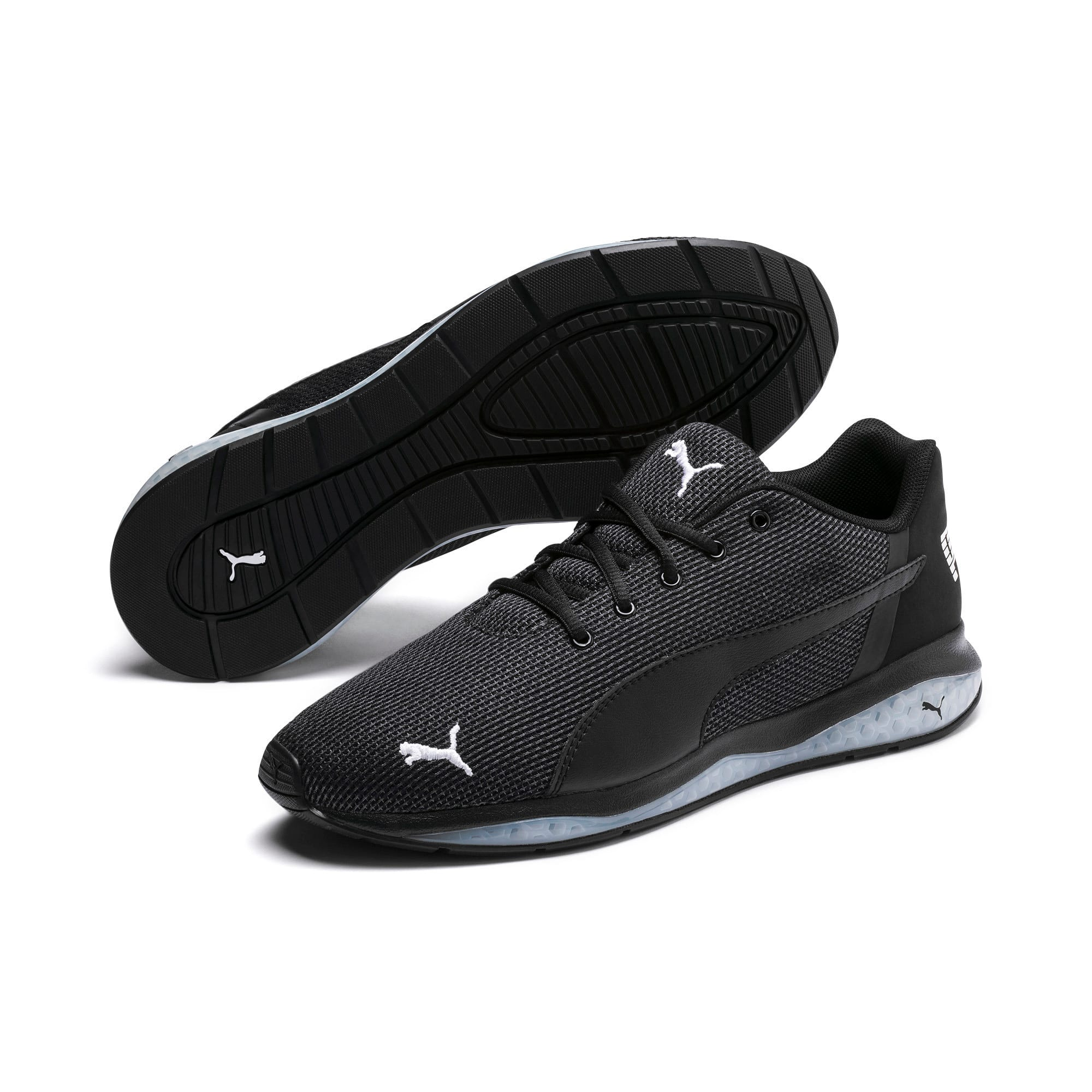 Thumbnail 2 of Cell Ultimate Point Knitted Men's Running Shoes, Puma Black-Puma White, medium-IND