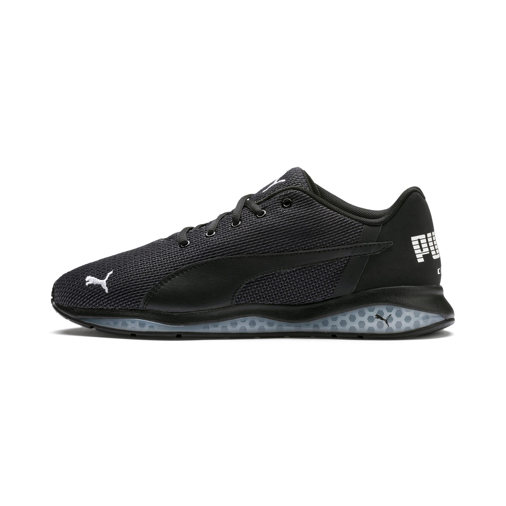 Thumbnail 1 of Cell Ultimate Point Knitted Men's Running Shoes, Puma Black-Puma White, medium-IND