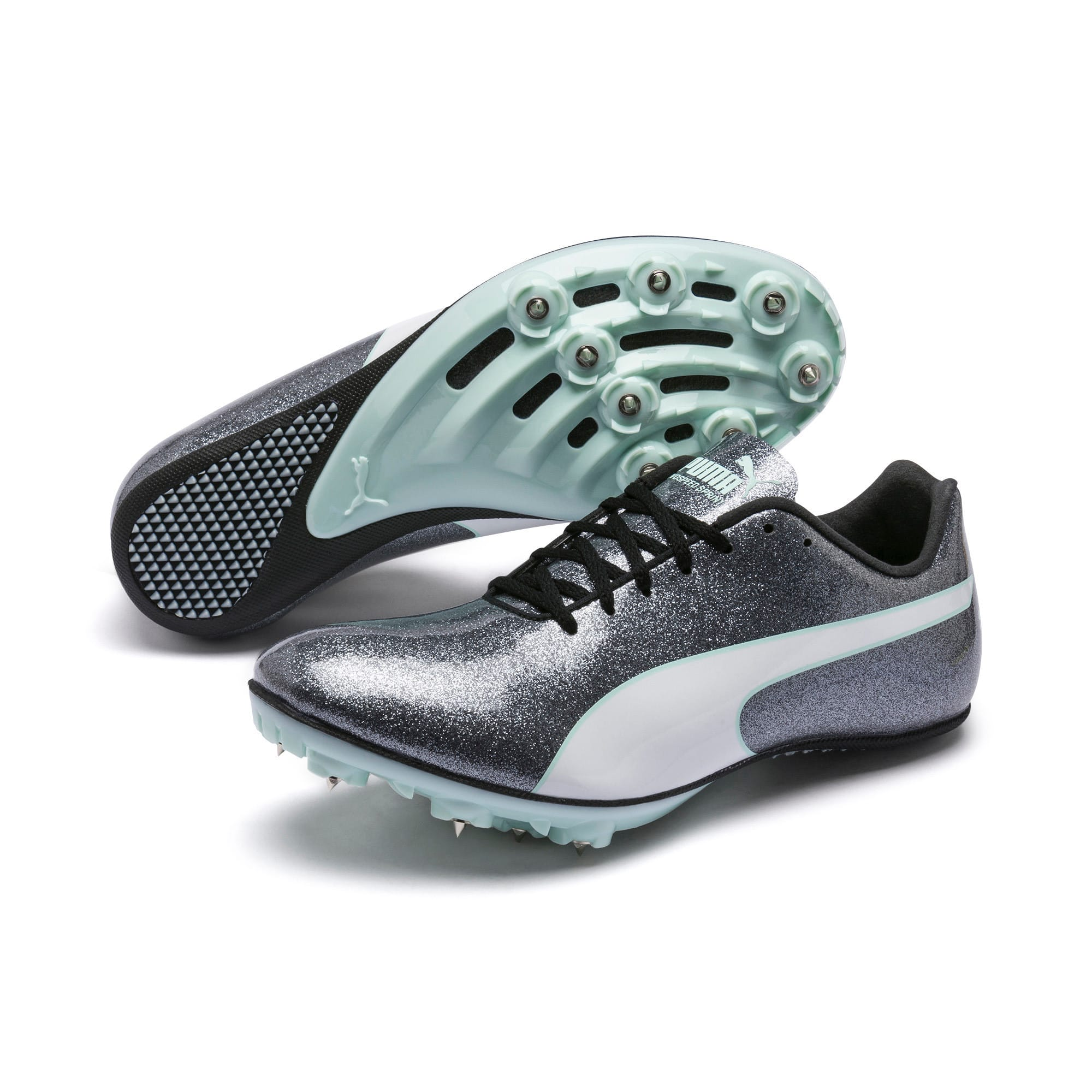 Thumbnail 2 of evoSPEED Sprint 9 Women's Running Shoes, Steel Gray-Fair Aqua-White, medium