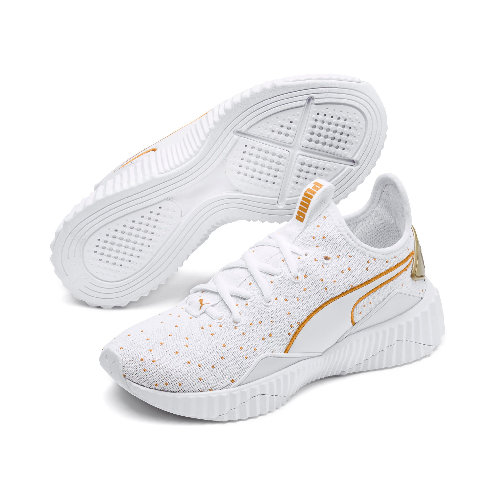 Thumbnail 2 of Defy Speckle Women's Training Shoes, Puma White-Gold, medium