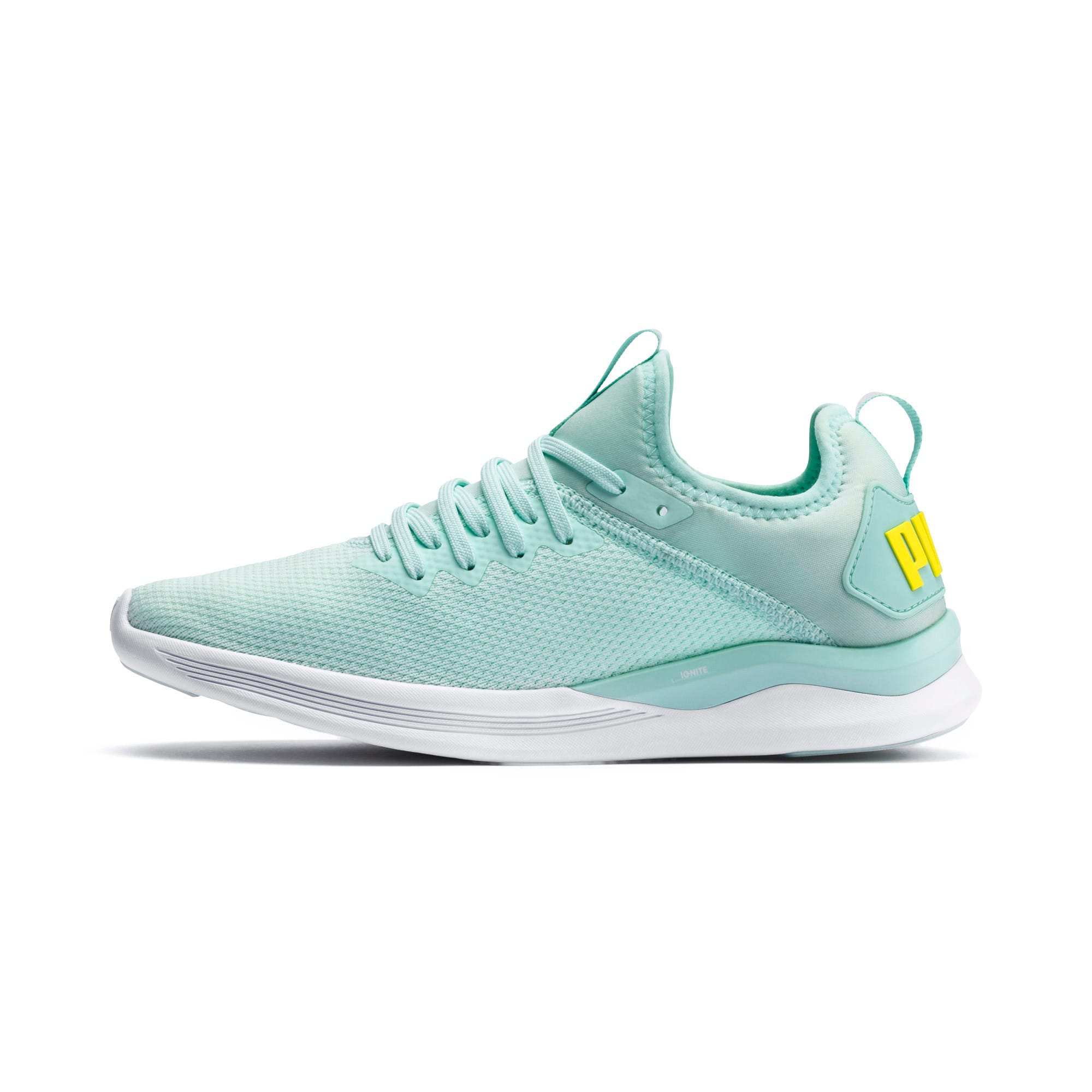 Thumbnail 1 of IGNITE Flash evoKNIT Women's Running Shoes, Fair Aqua-Blazing Yellow, medium-IND