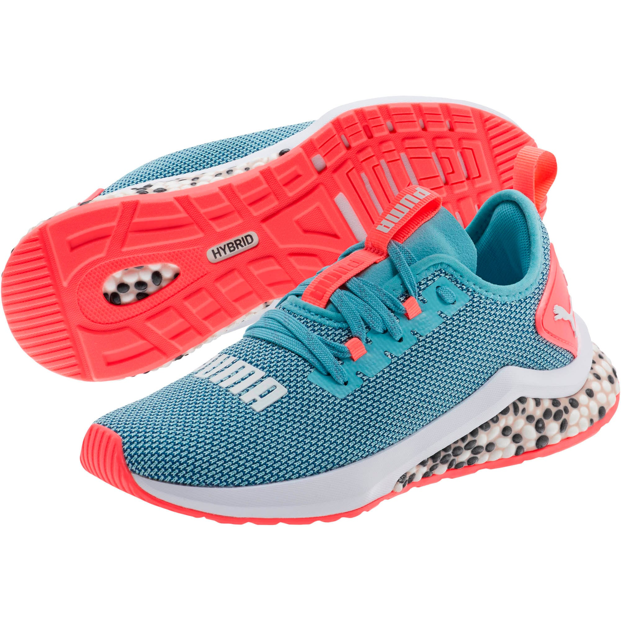 Thumbnail 2 of HYBRID NX Running Shoes JR, Milky Blue-Calypso Coral-Wht, medium