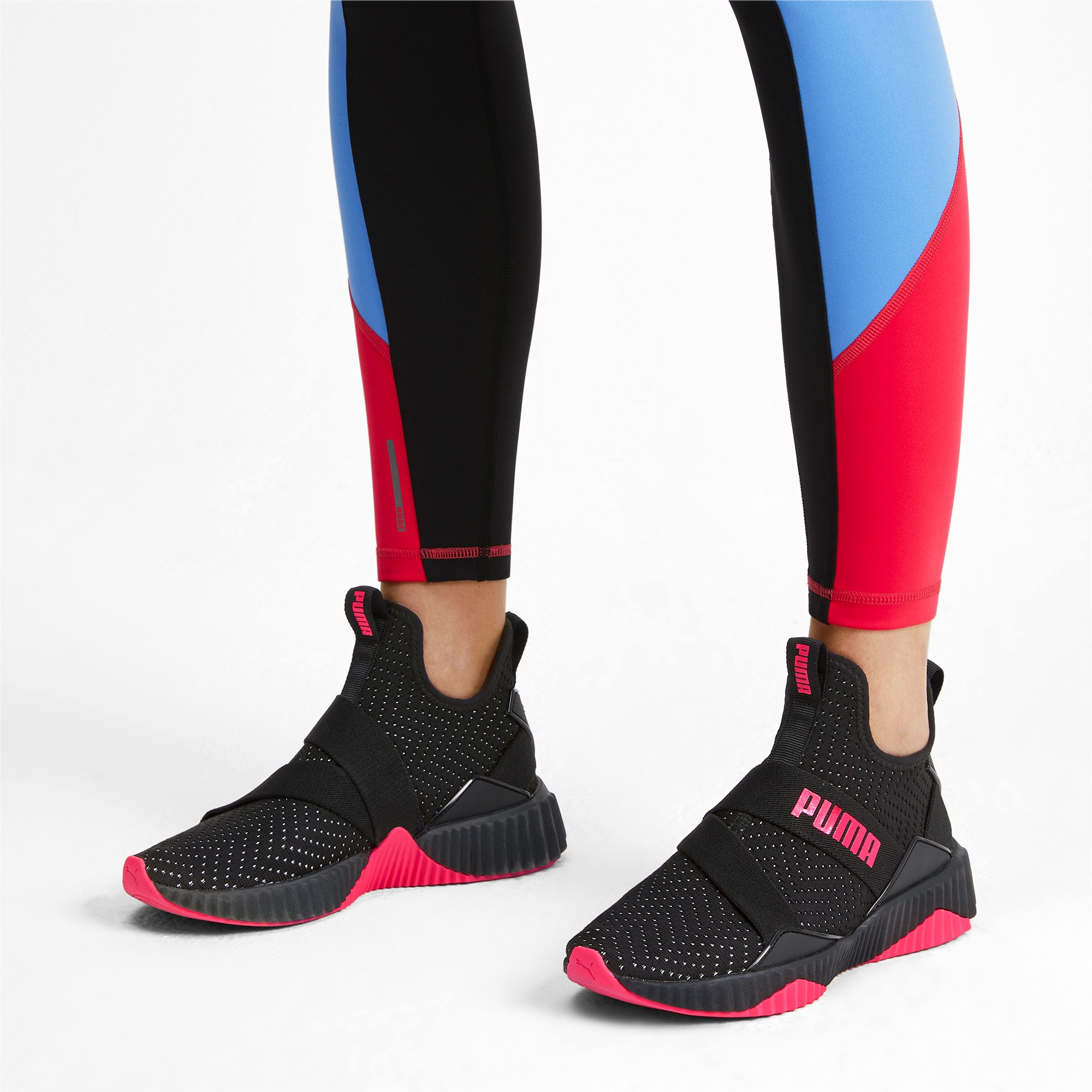Thumbnail 2 of Defy Mid Core Women's Trainers, Puma Black-Pink Alert, medium-IND