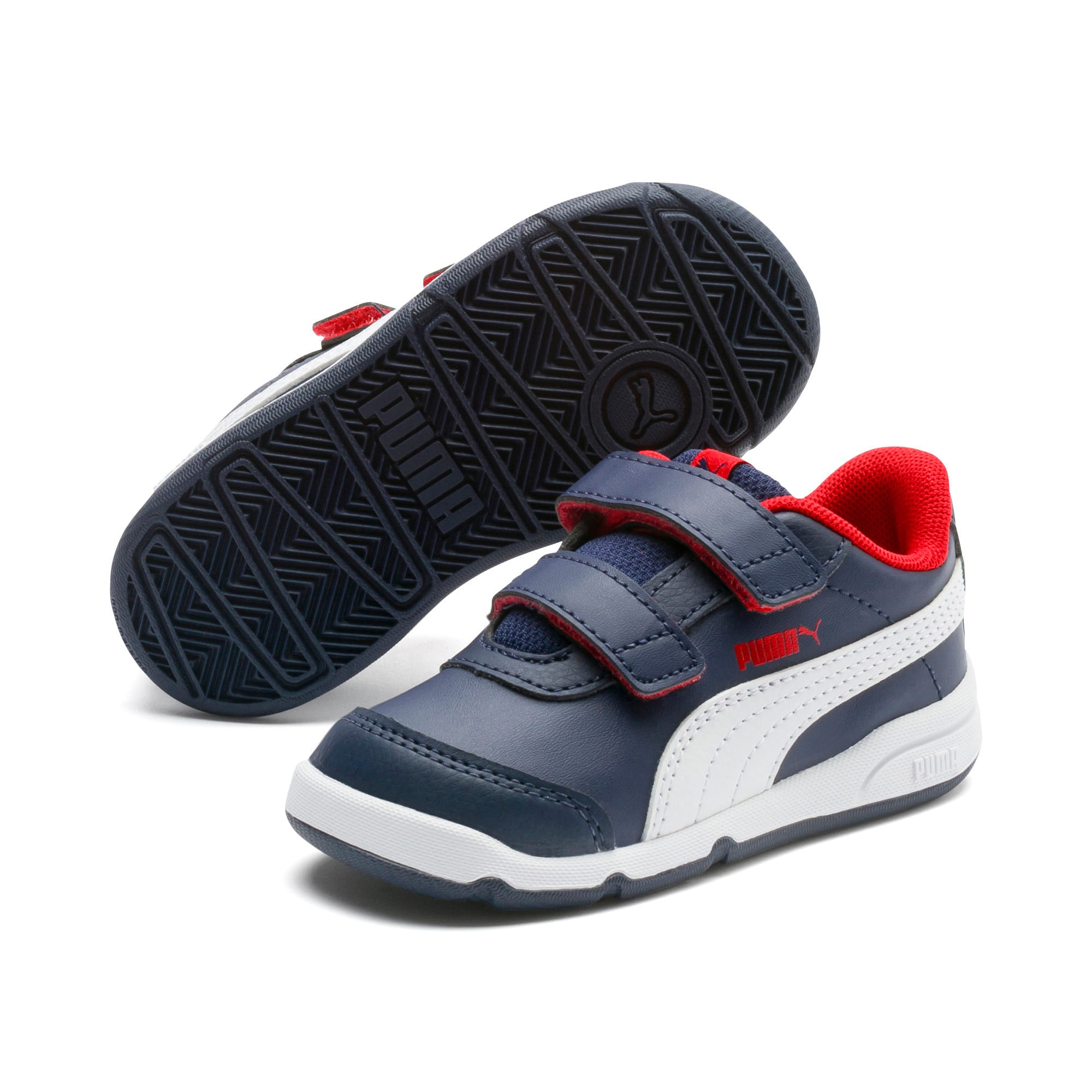 Thumbnail 2 of Stepfleex 2 SL VE V Babies' Trainers, Peacoat-White-Flame Scarlet, medium