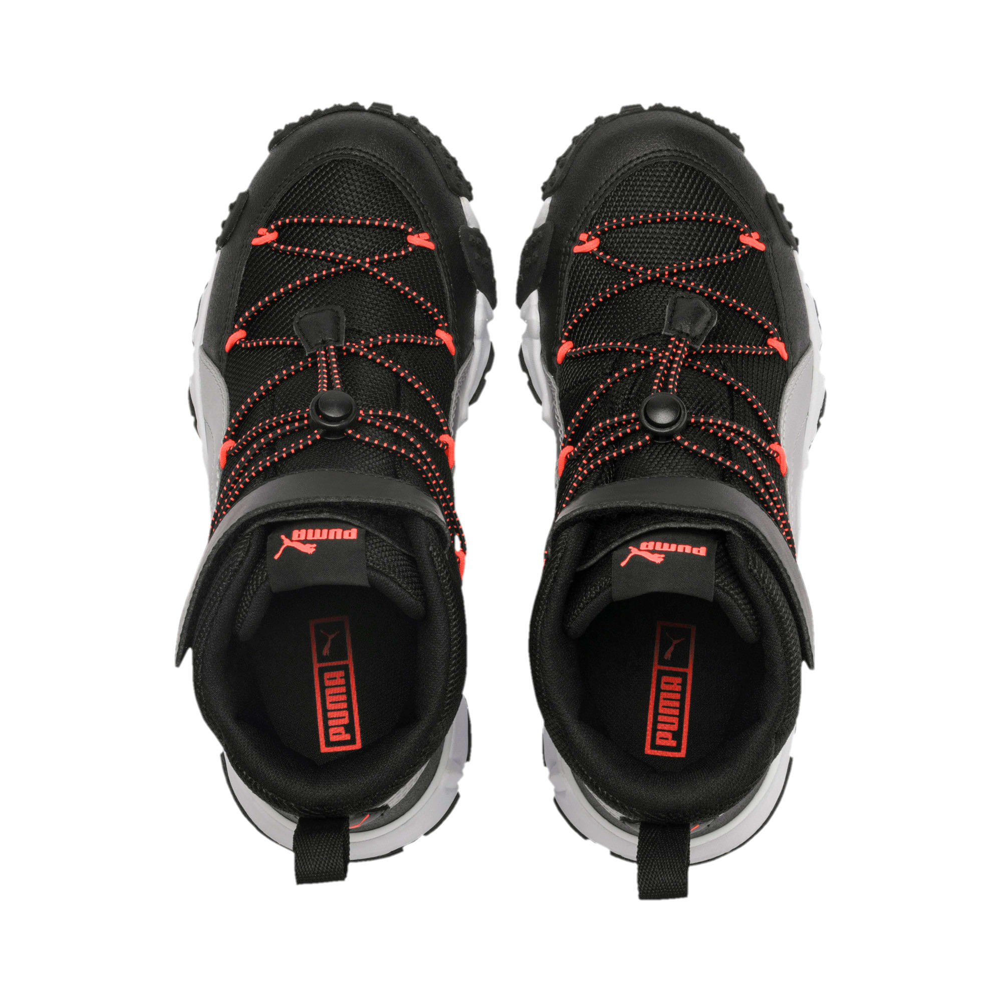 Thumbnail 6 of Maka V Youth Trainers, Puma Black-Nrgy Red, medium