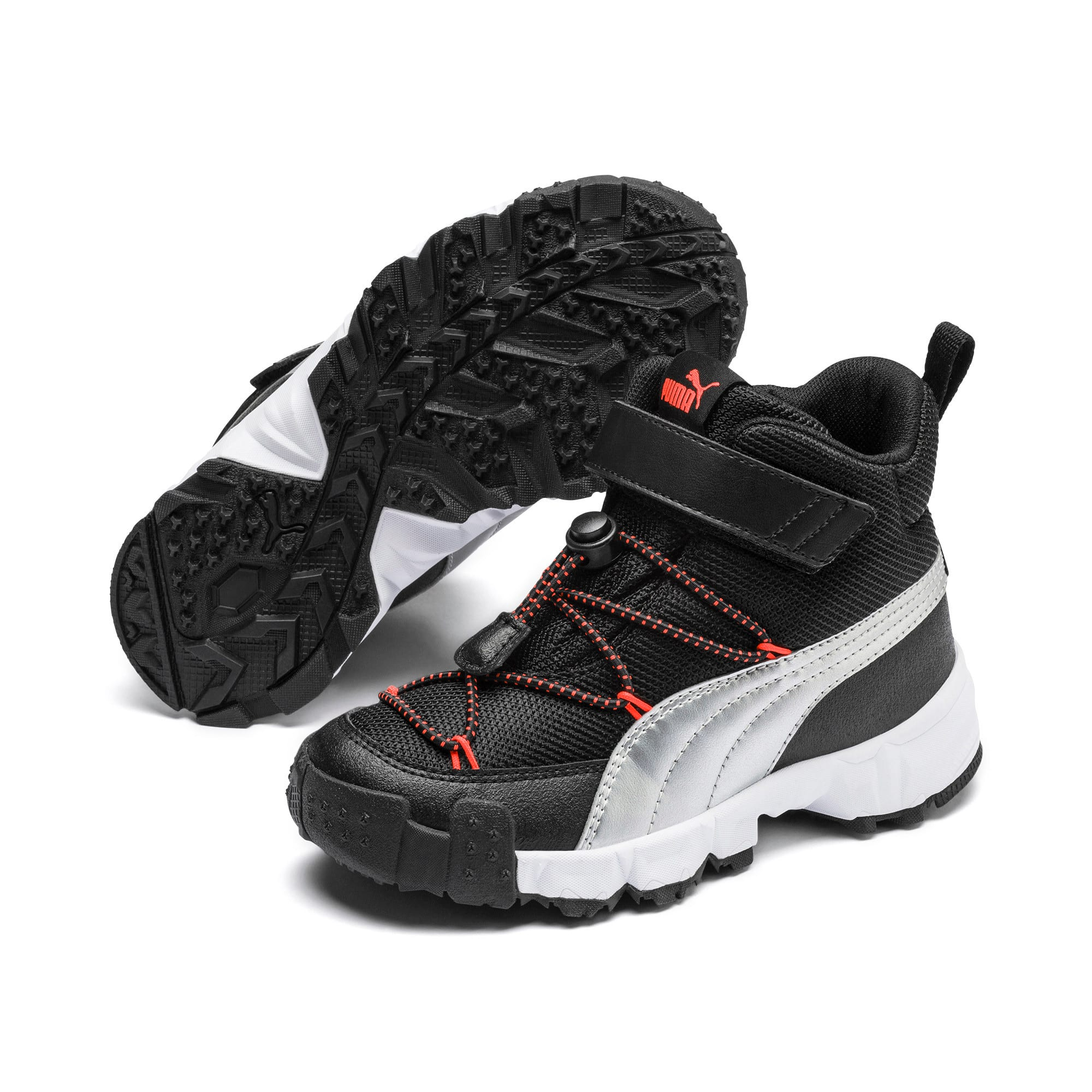 Thumbnail 2 of Maka V Kids Sneaker, Puma Black-Nrgy Red, medium