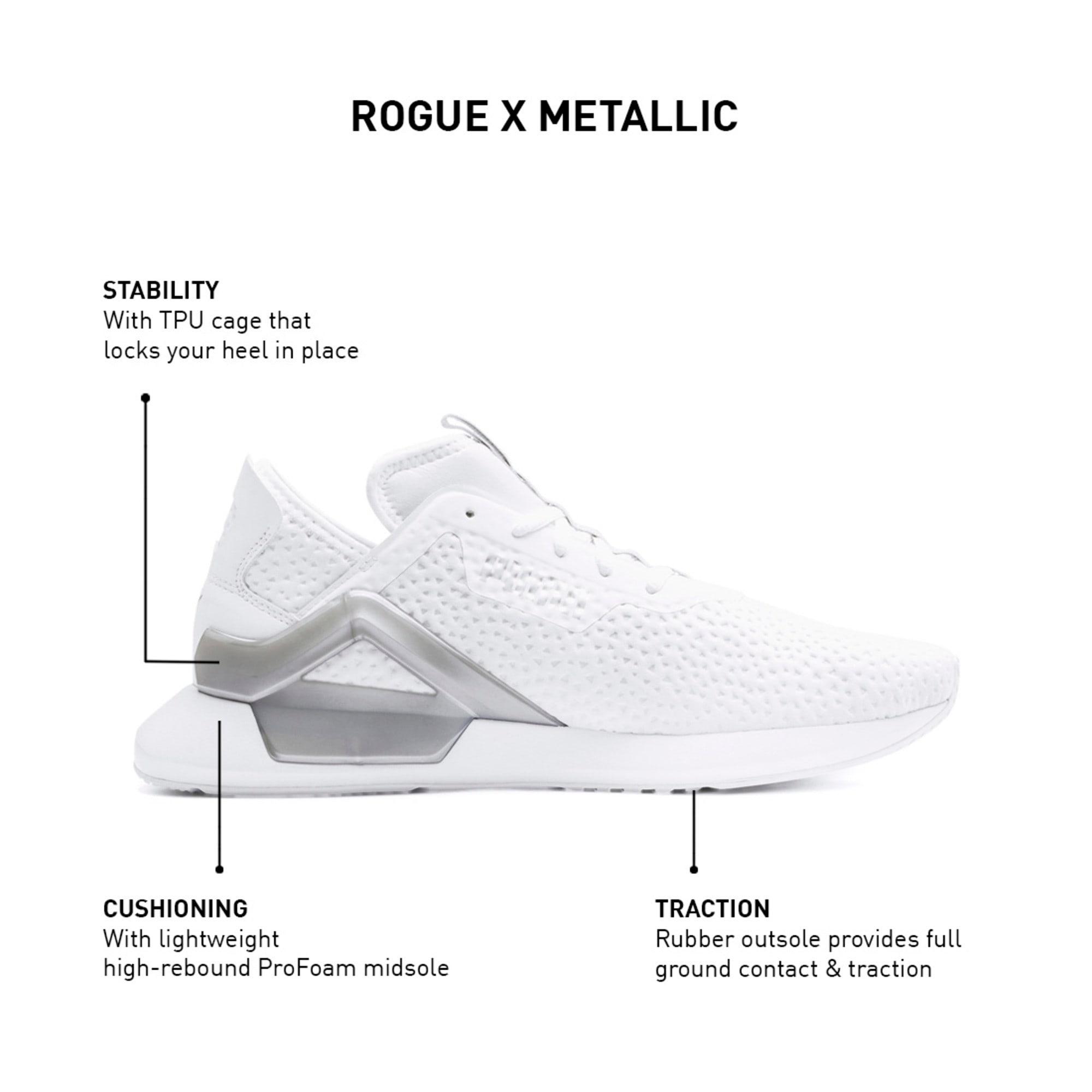 Thumbnail 9 of Rogue X Metallic Men's Trainers, Puma White-Puma Silver, medium-IND