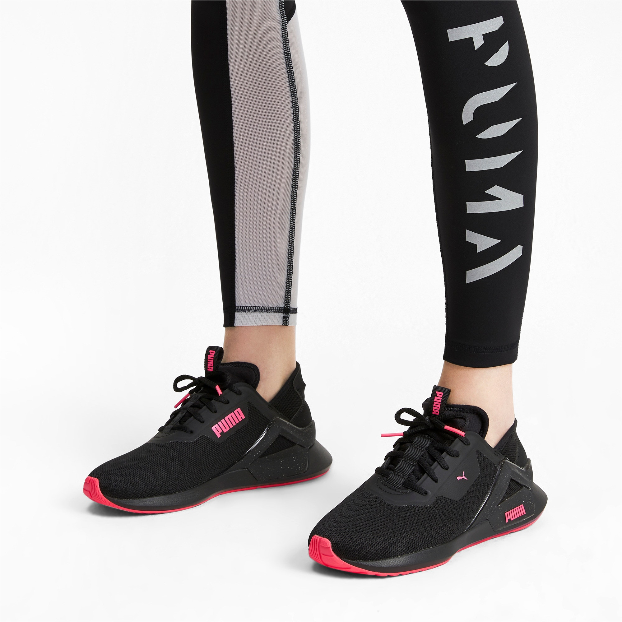 Thumbnail 2 of Rogue X Knit Women's Running Shoes, Puma Black-Pink Alert, medium-IND