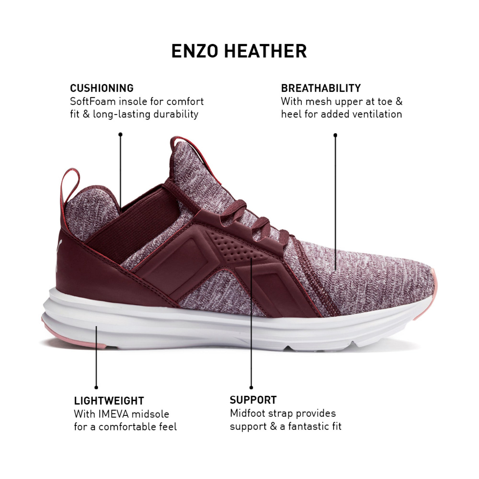 Thumbnail 9 of Enzo Heathered Women's Running Shoes, Wine-Bridal Rose-White, medium-IND