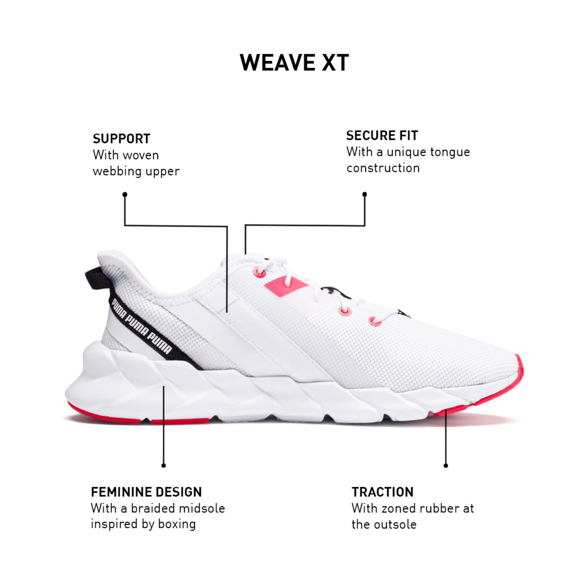 Thumbnail 11 of Weave XT Women's Training Shoes, Puma White-Pink Alert, medium-IND