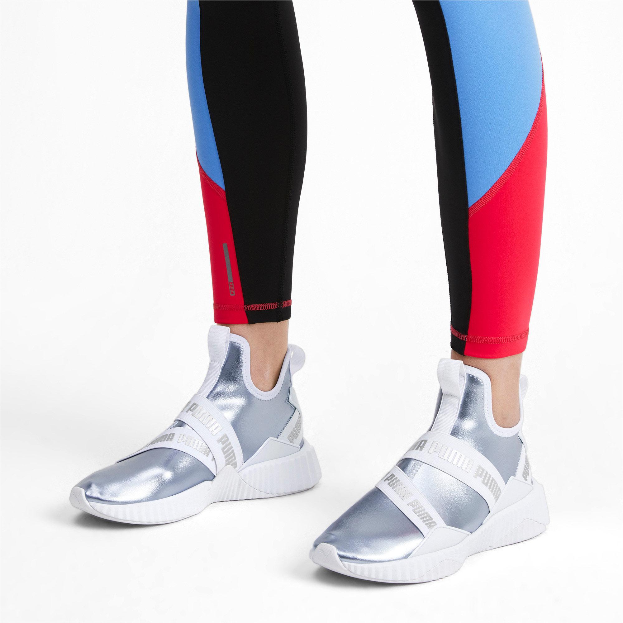 Thumbnail 3 of Defy Mid Metallic Women's Training Shoes, Heather-Puma White, medium