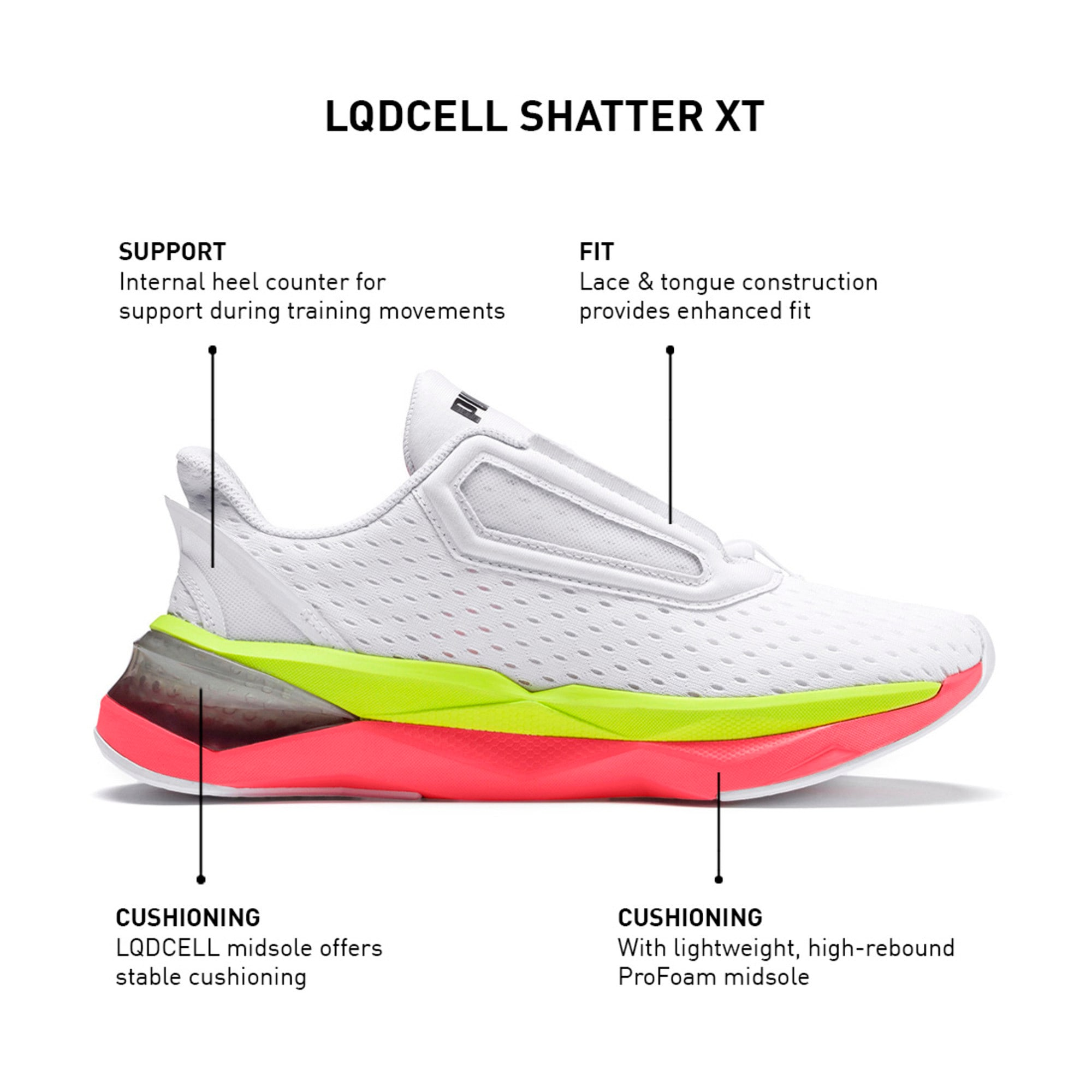 Thumbnail 13 of LQDCell Shatter XT Women's Training Shoes, Puma White-Pink Alert, medium-IND