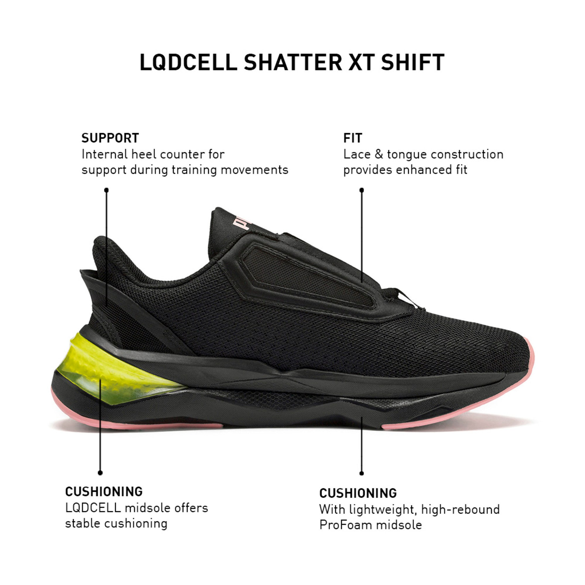 Thumbnail 10 of LQDCELL Shatter XT Women's Training Shoes, Puma Black-Yellow Alert, medium-IND