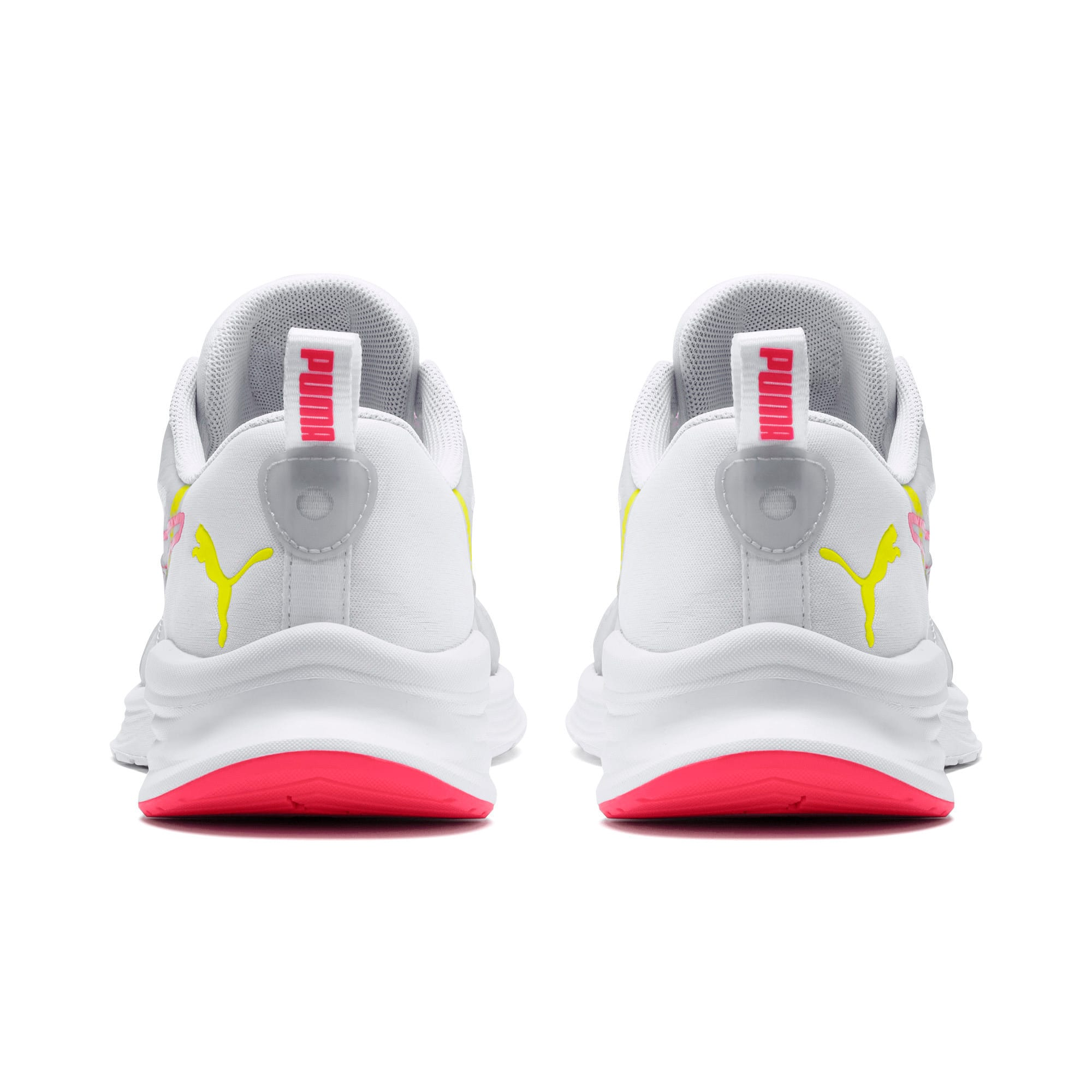 Thumbnail 3 of HYBRID Fuego Women's Running Trainers, White-PinkAlert-YellowAlert, medium