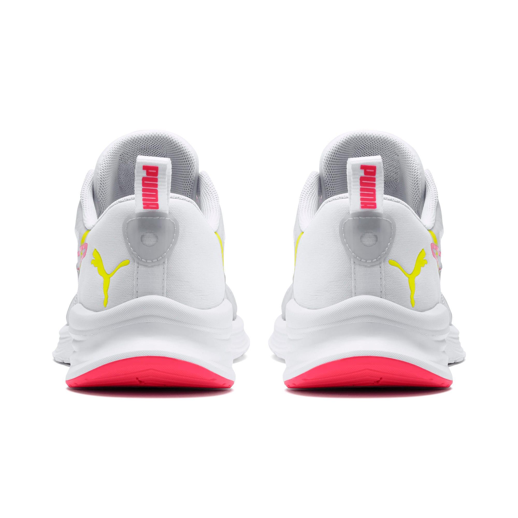 Thumbnail 3 of HYBRID Fuego Women's Running Shoes, White-PinkAlert-YellowAlert, medium