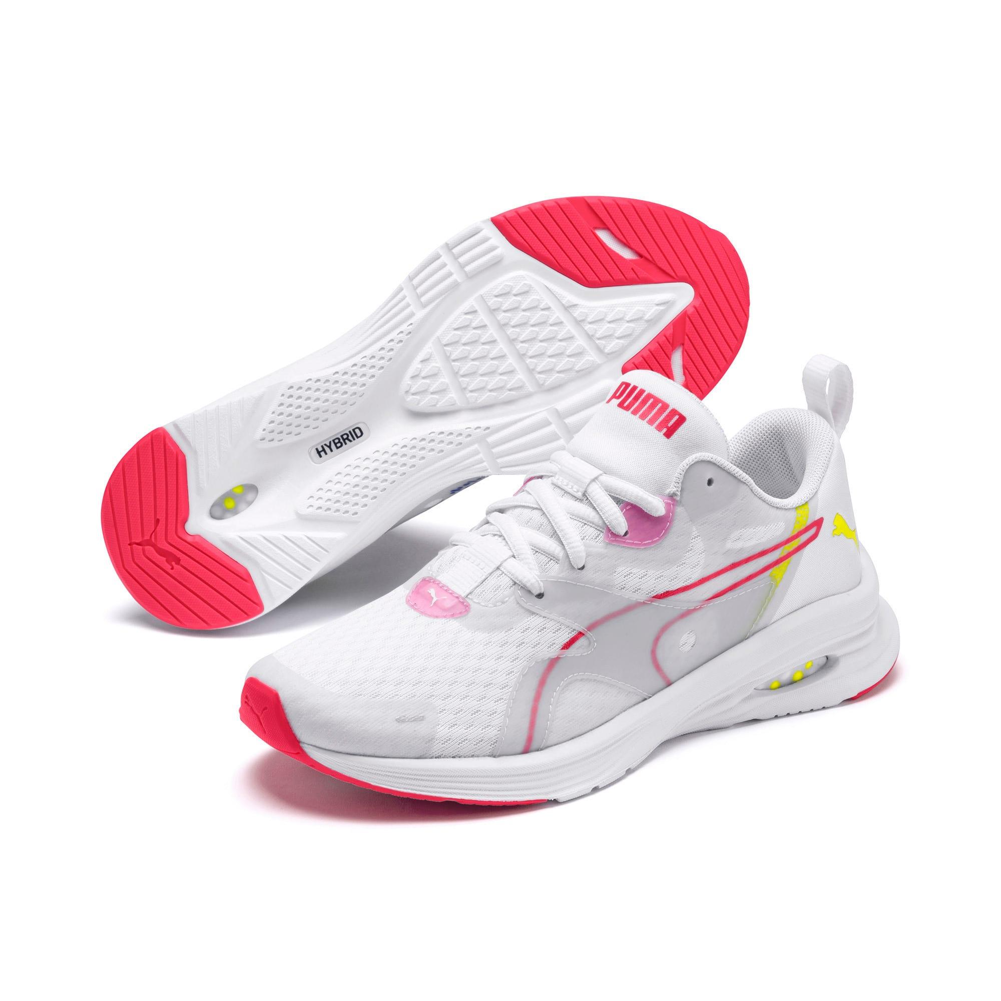 Thumbnail 2 of HYBRID Fuego Women's Running Shoes, White-PinkAlert-YellowAlert, medium