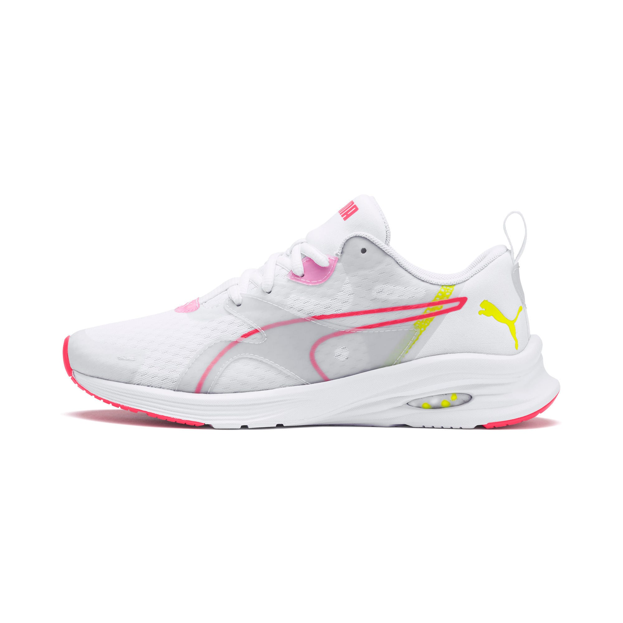 Thumbnail 1 of HYBRID Fuego Women's Running Trainers, White-PinkAlert-YellowAlert, medium