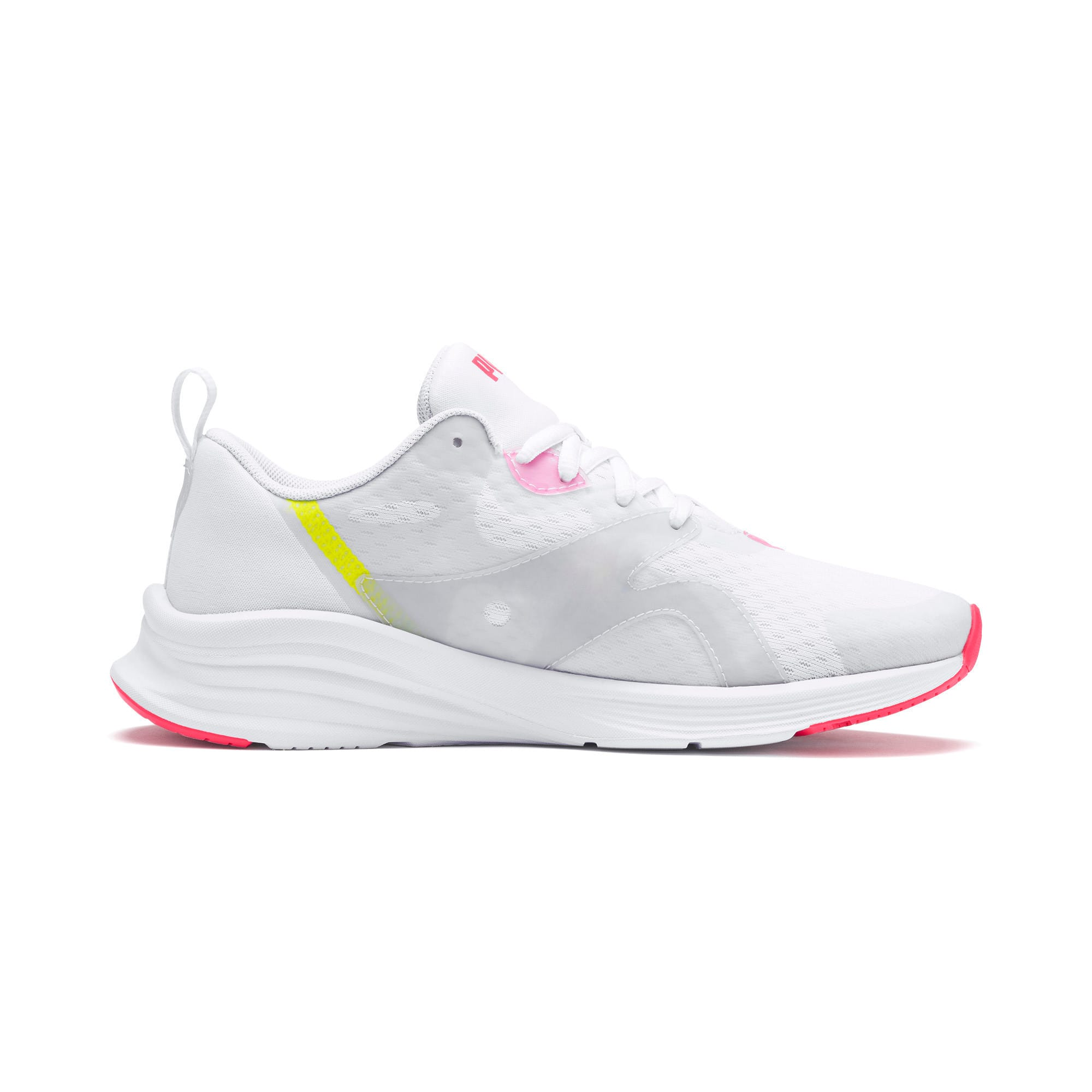 Thumbnail 5 of HYBRID Fuego Women's Running Trainers, White-PinkAlert-YellowAlert, medium
