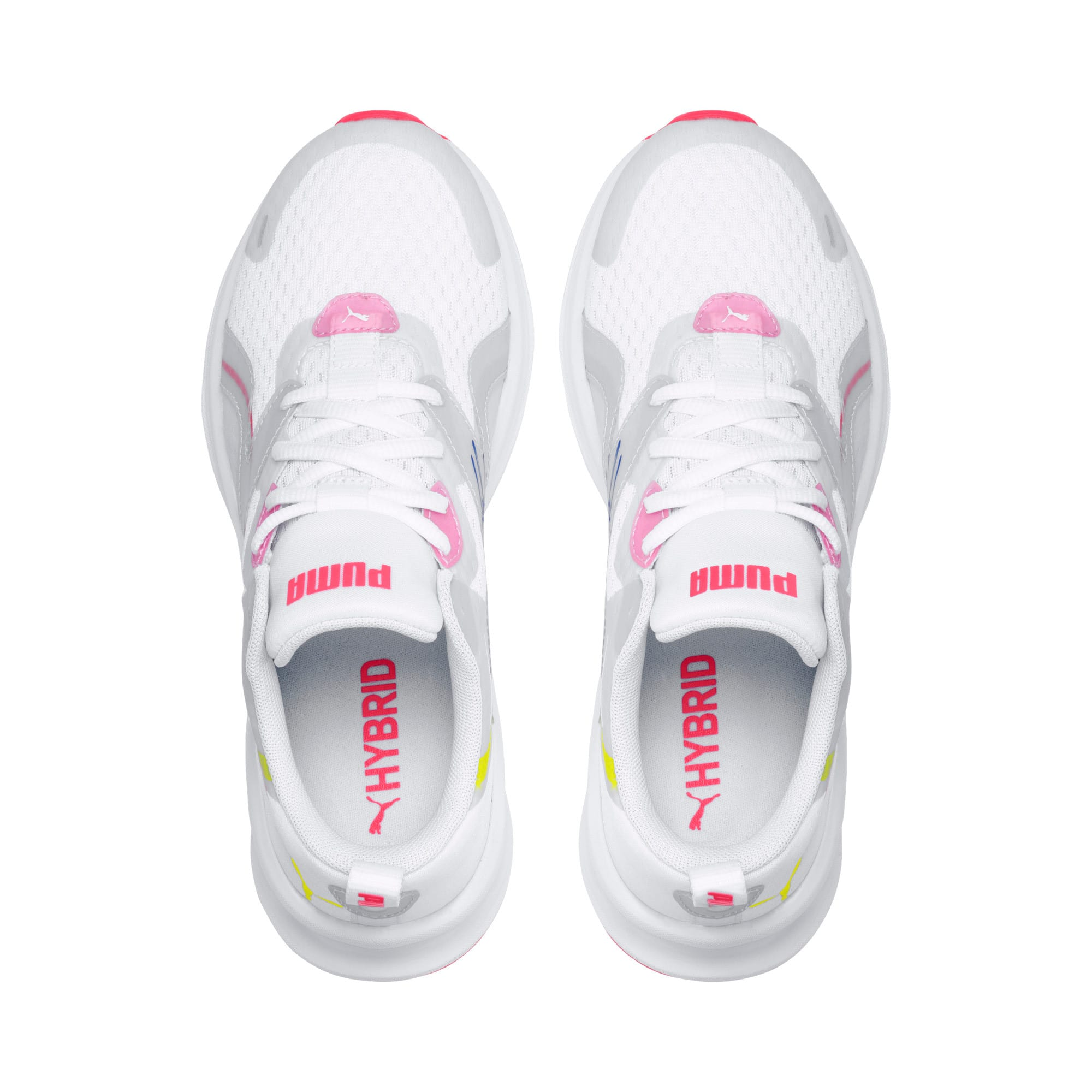 Thumbnail 6 of HYBRID Fuego Women's Running Trainers, White-PinkAlert-YellowAlert, medium