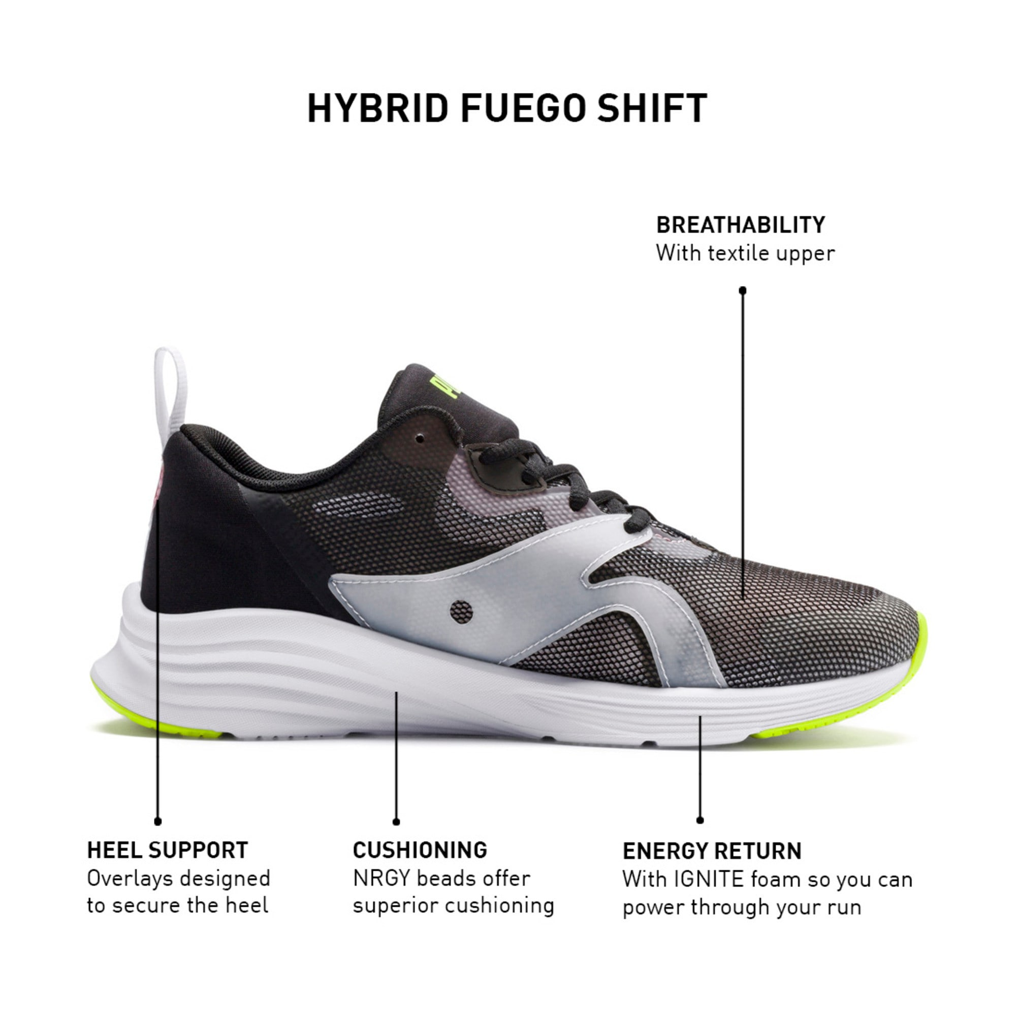 Thumbnail 9 of HYBRID Fuego Shift Women's Running Shoes, Puma Black-Bridal Rose, medium-IND