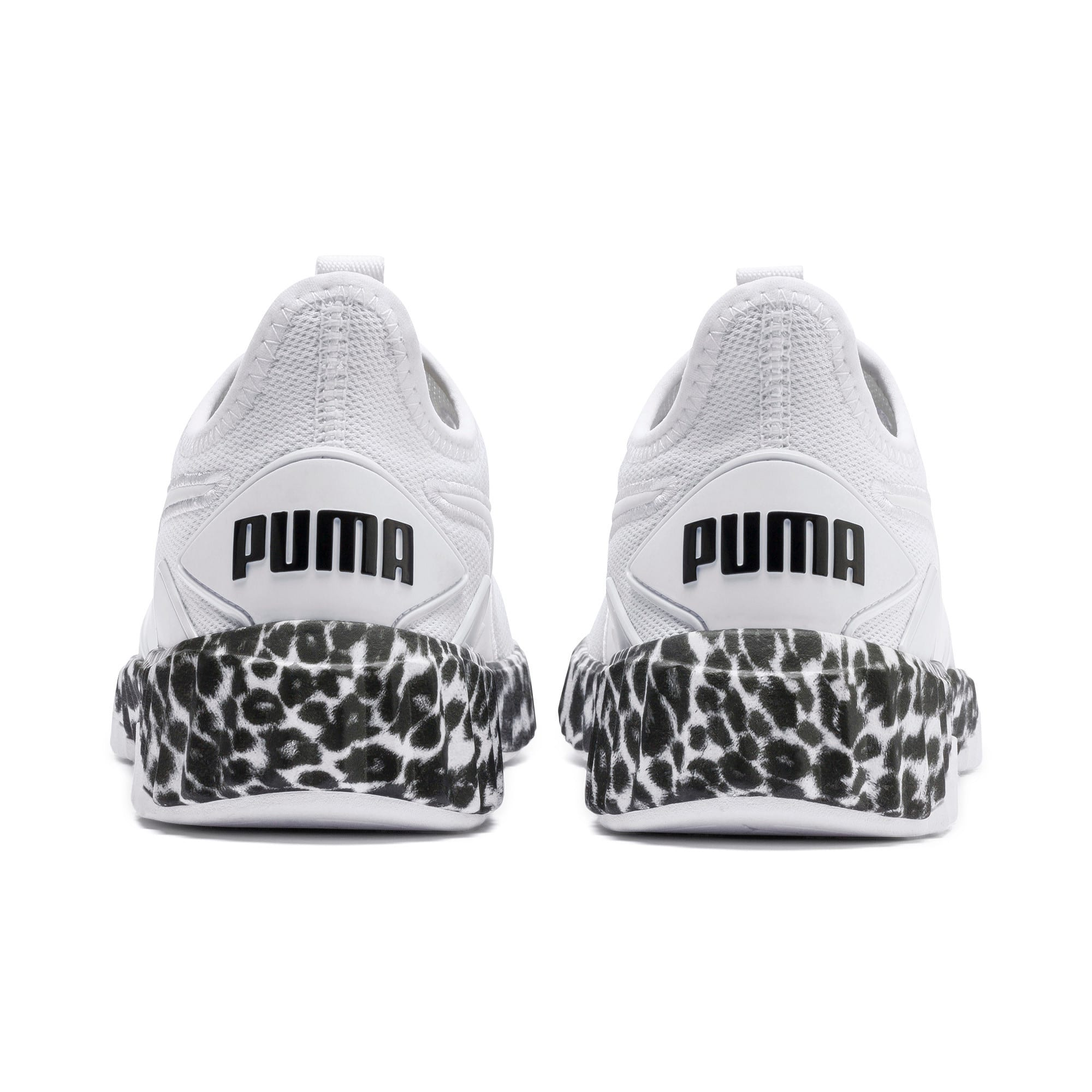 Thumbnail 4 of Defy Leopard Women's Sneakers, Puma White-Puma Black, medium