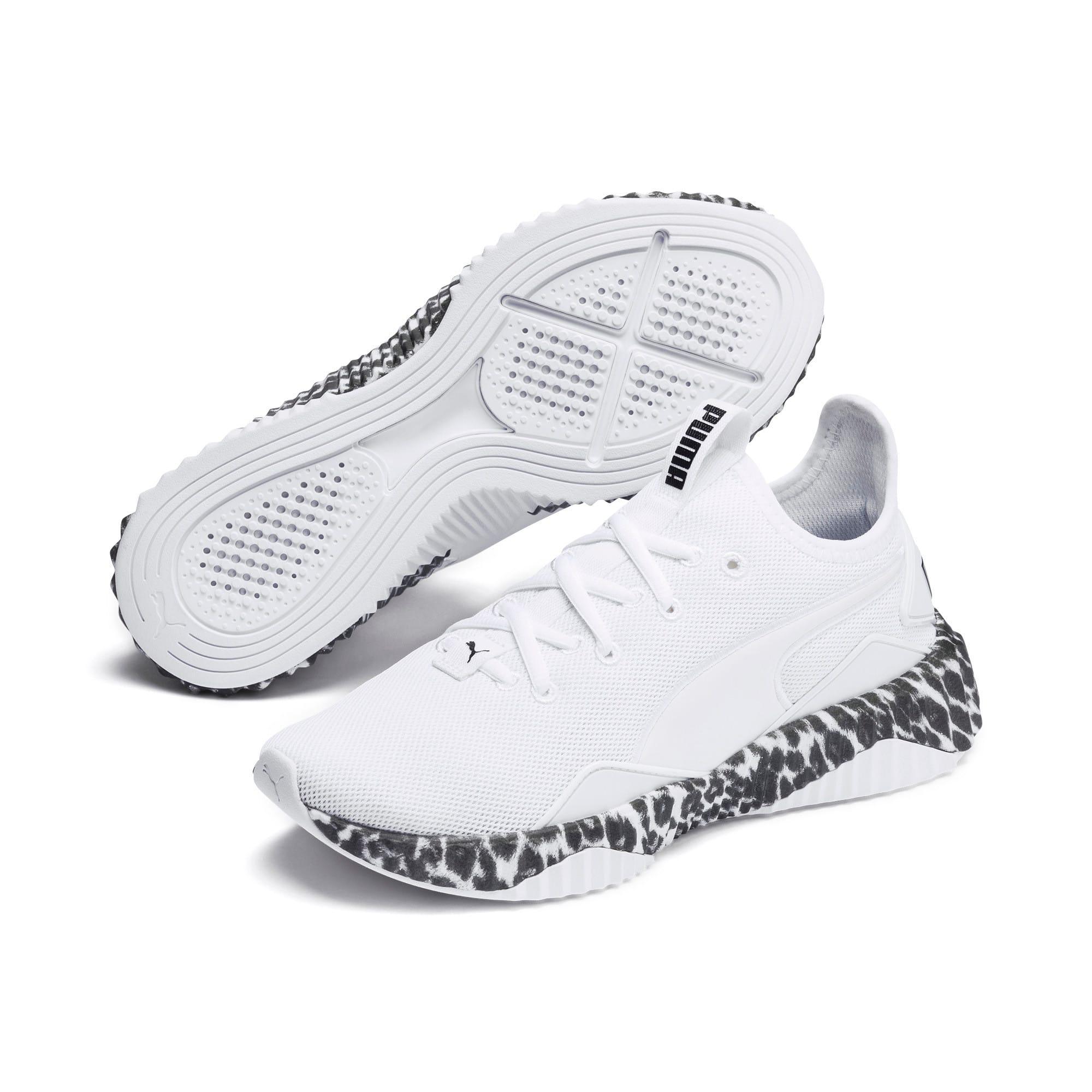 Thumbnail 3 of Defy Leopard Women's Sneakers, Puma White-Puma Black, medium
