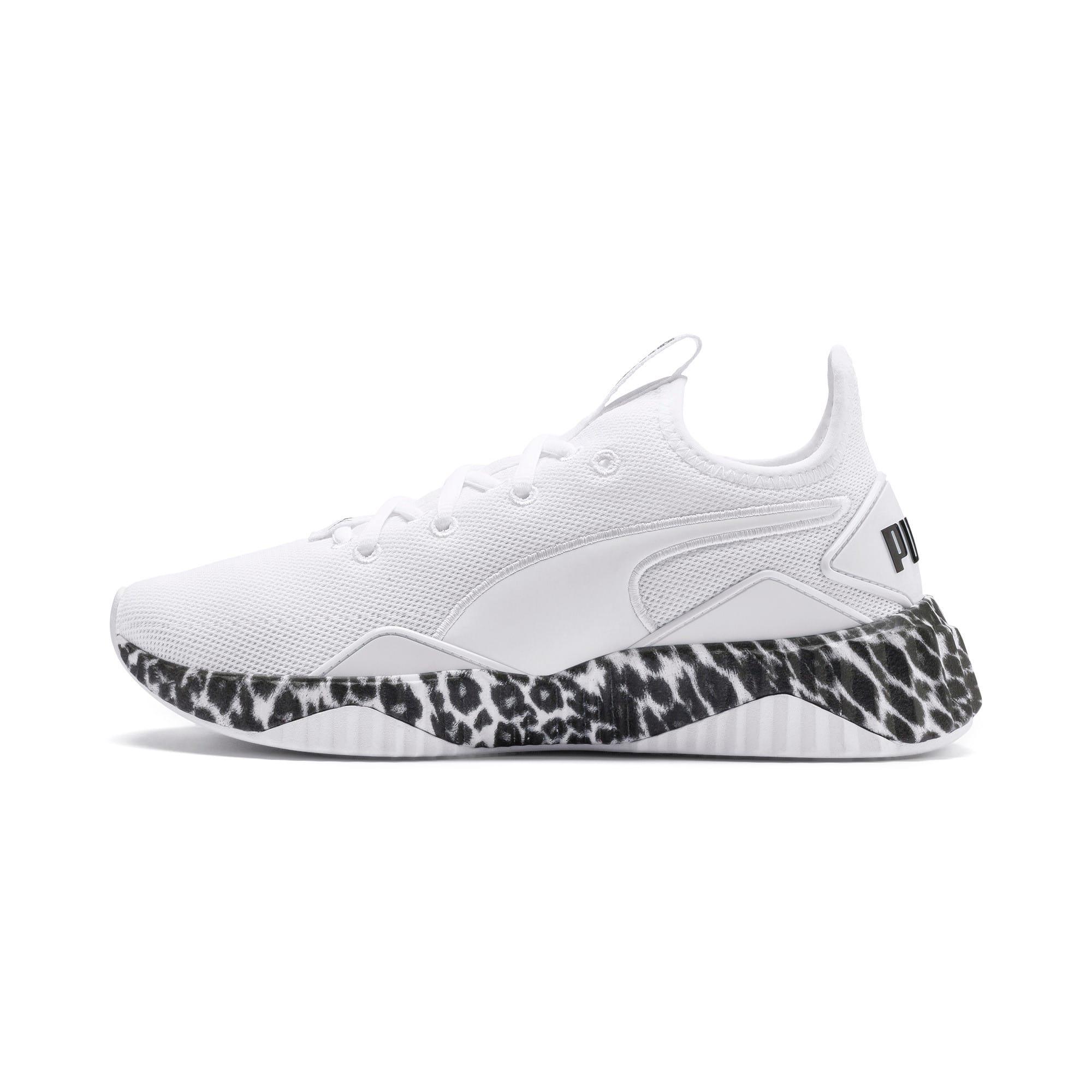 Thumbnail 1 of Defy Leopard Women's Sneakers, Puma White-Puma Black, medium