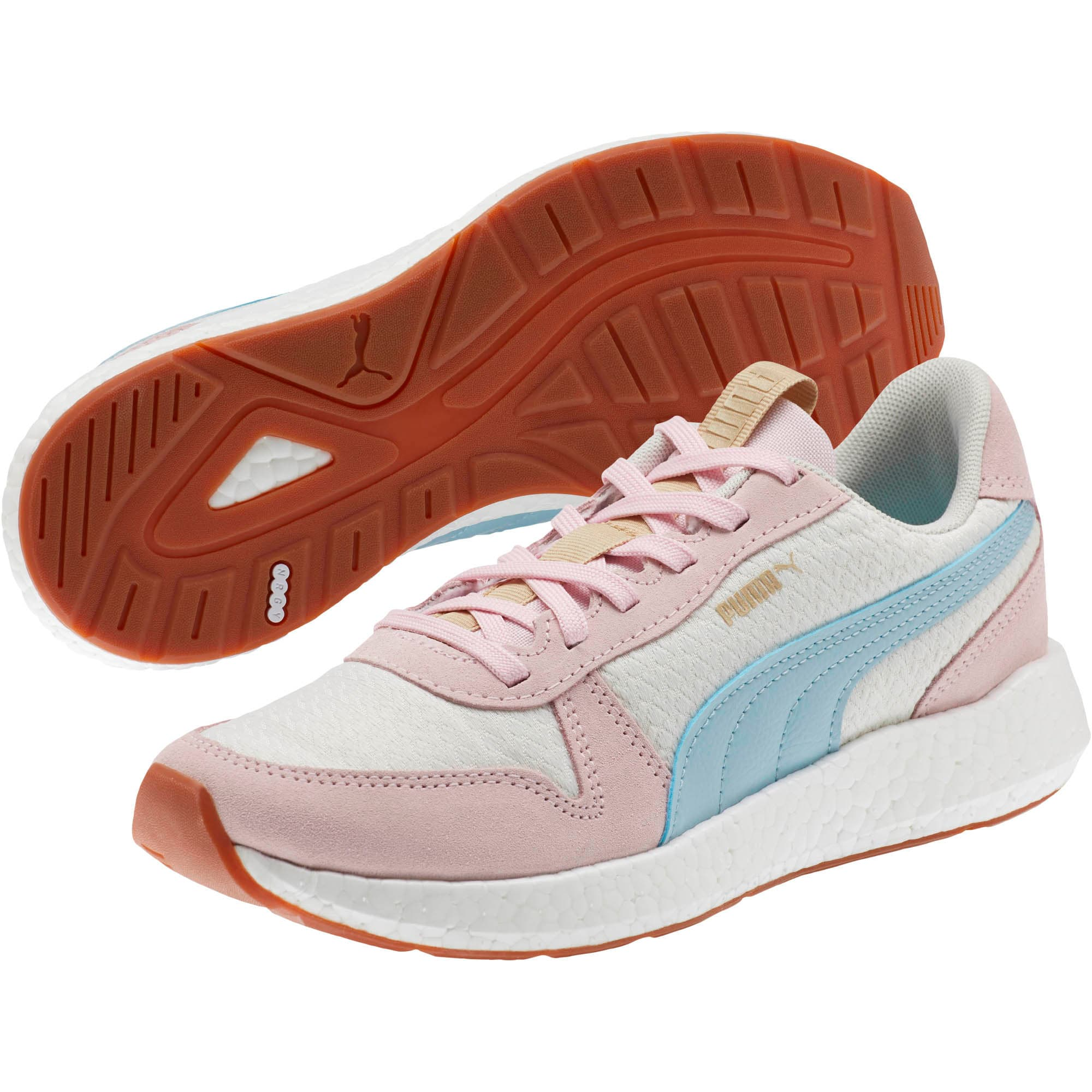 Thumbnail 2 of NRGY Neko Retro Sweet Women's Street Running Shoes, Whisper White-Pink-Sky, medium