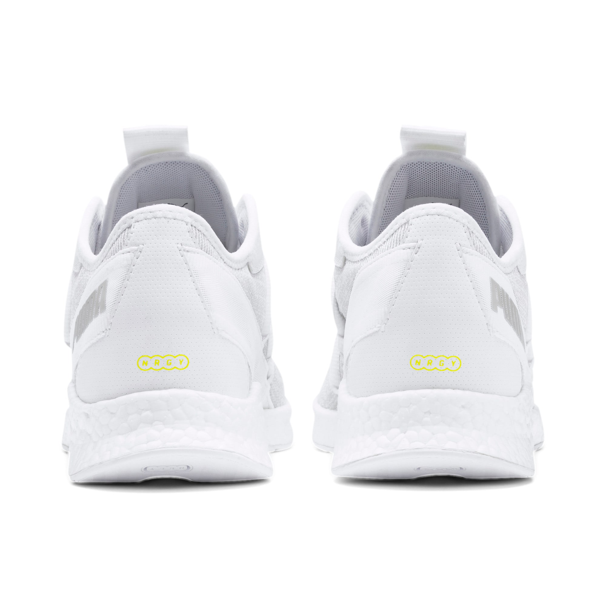 Thumbnail 4 of NRGY Star Knit Trainers, White-Glacier Gray-Yellow, medium