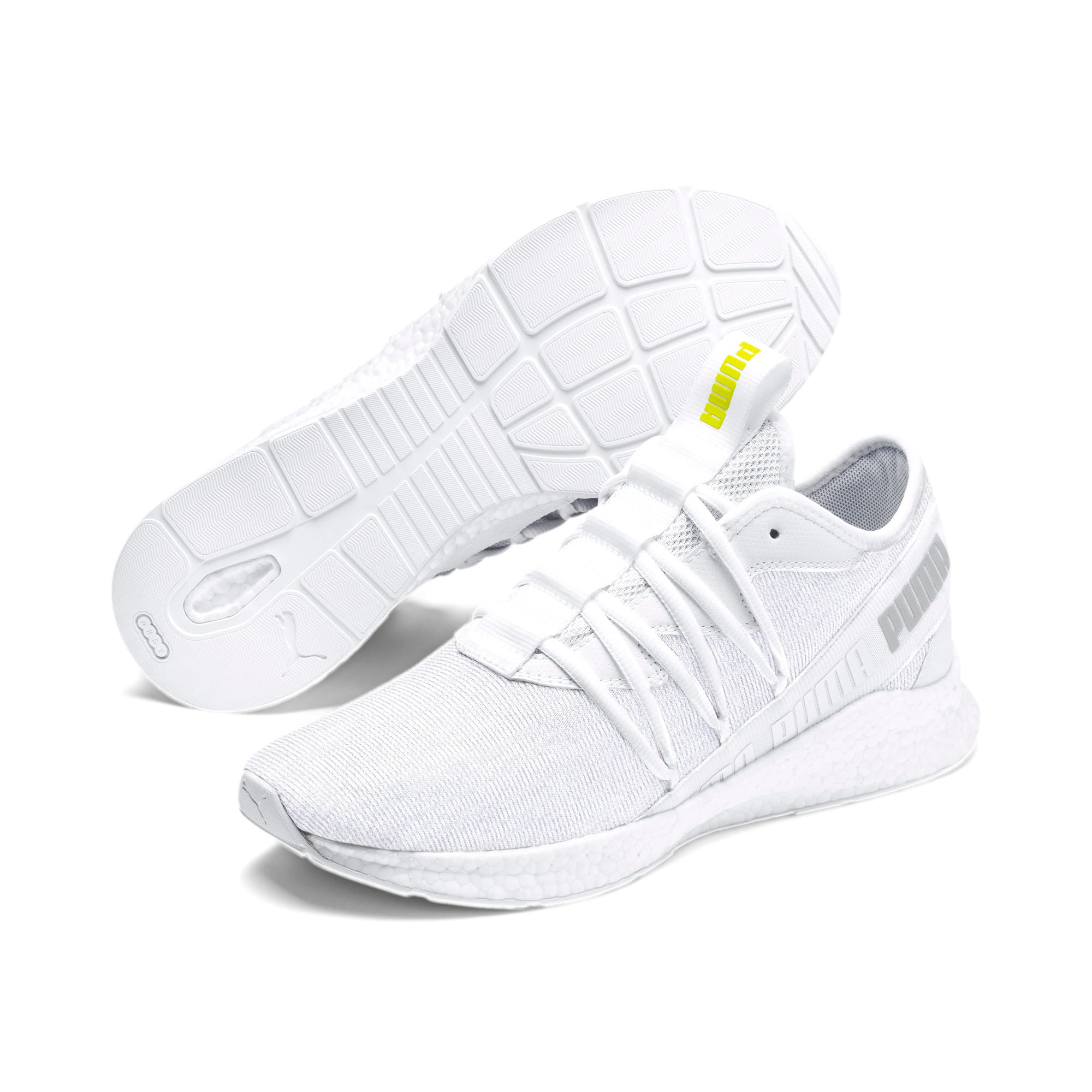 Thumbnail 3 of NRGY Star Knit Trainers, White-Glacier Gray-Yellow, medium