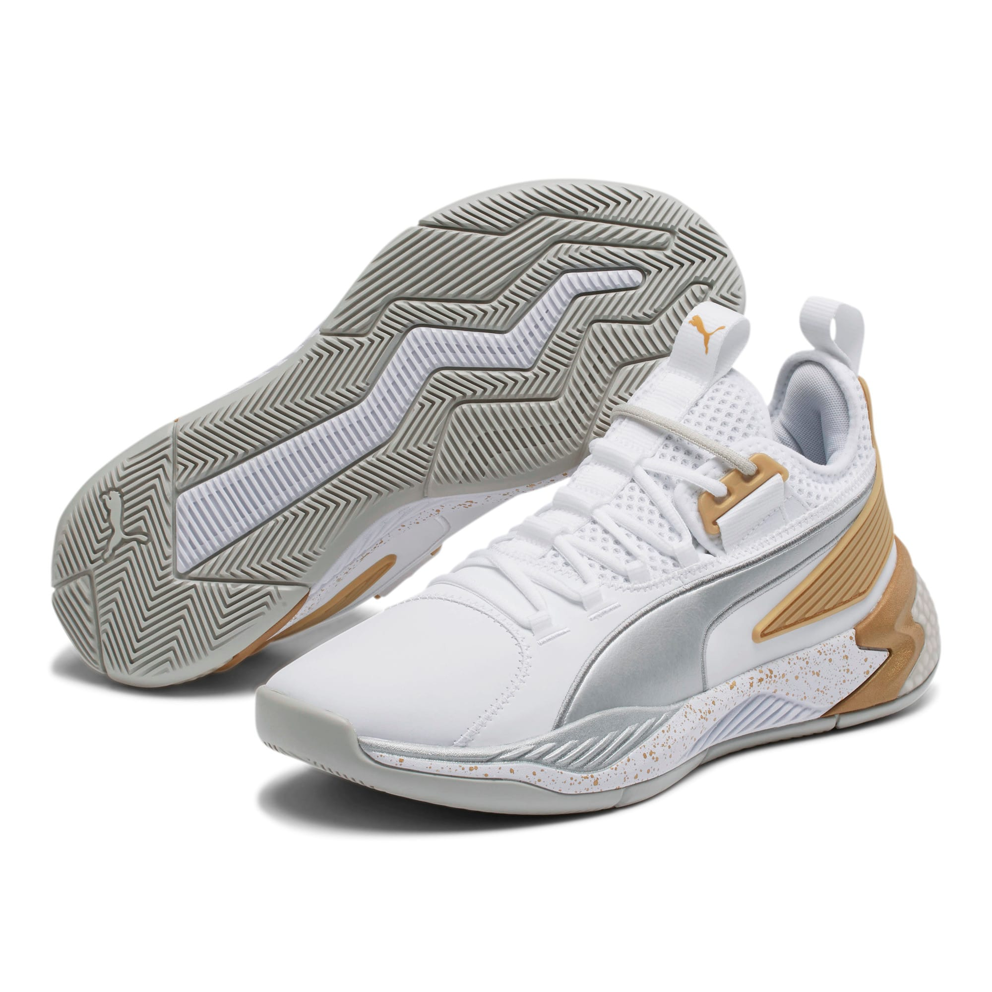 Thumbnail 2 of Uproar Core Men's Basketball Shoes, Puma White-Metallic Silver, medium-IND