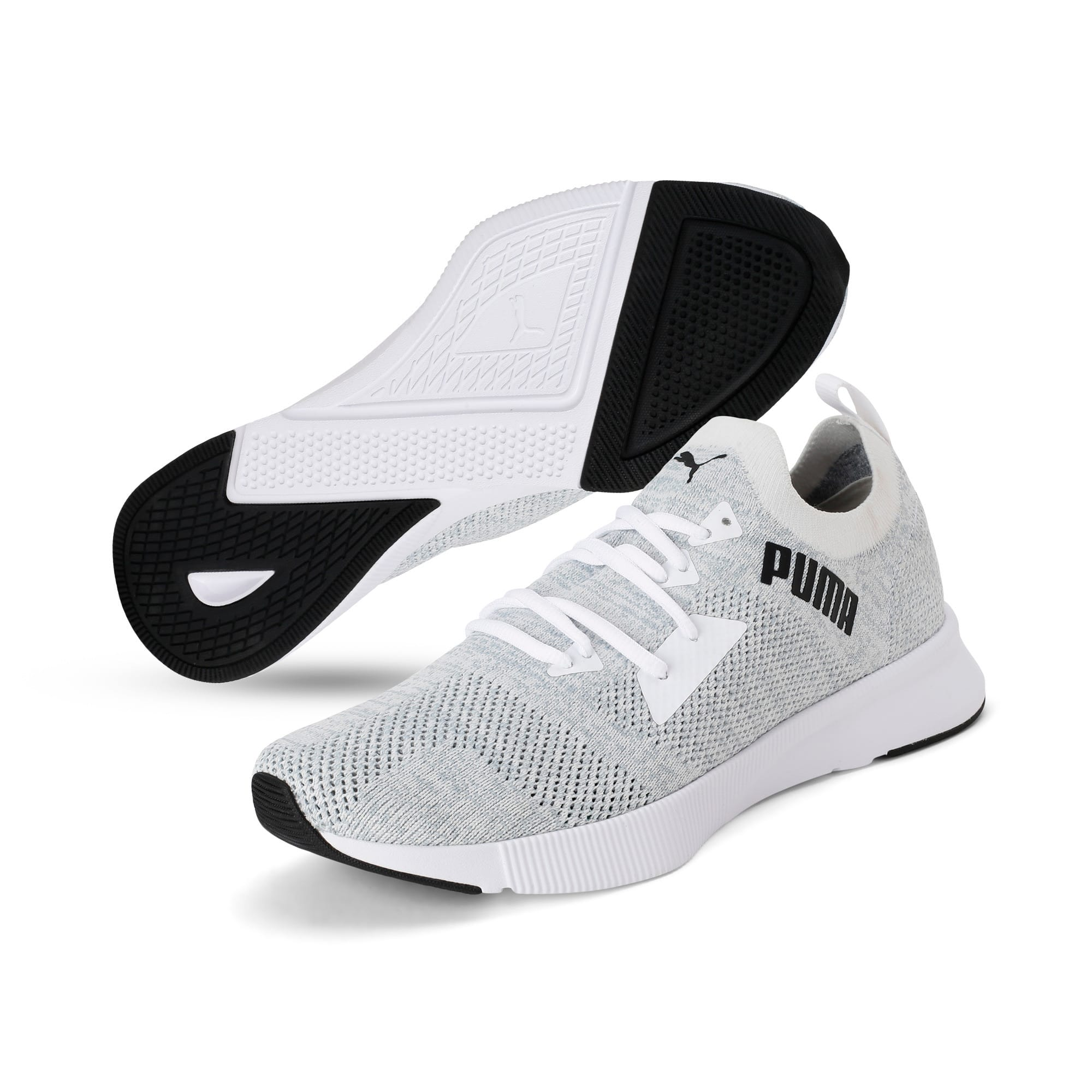 Thumbnail 2 of Flyer Runner Engineered Knit Men's Running Shoes, Puma White-Quarry-Puma Black, medium-IND