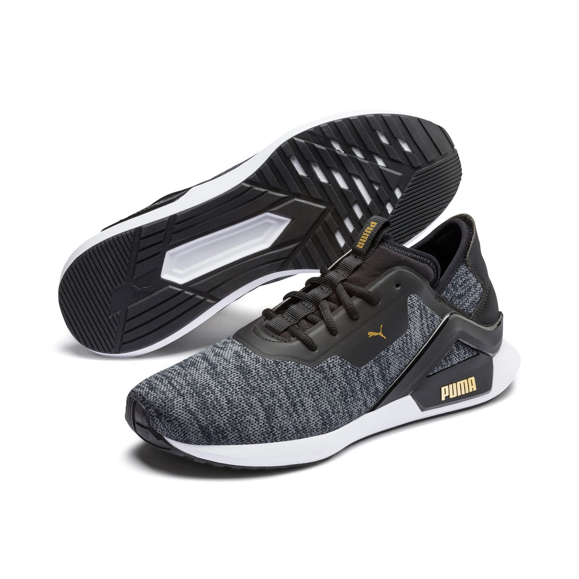 Thumbnail 3 of Rogue X Knit Men's Trainers, Black-CASTLEROCK-Gold, medium