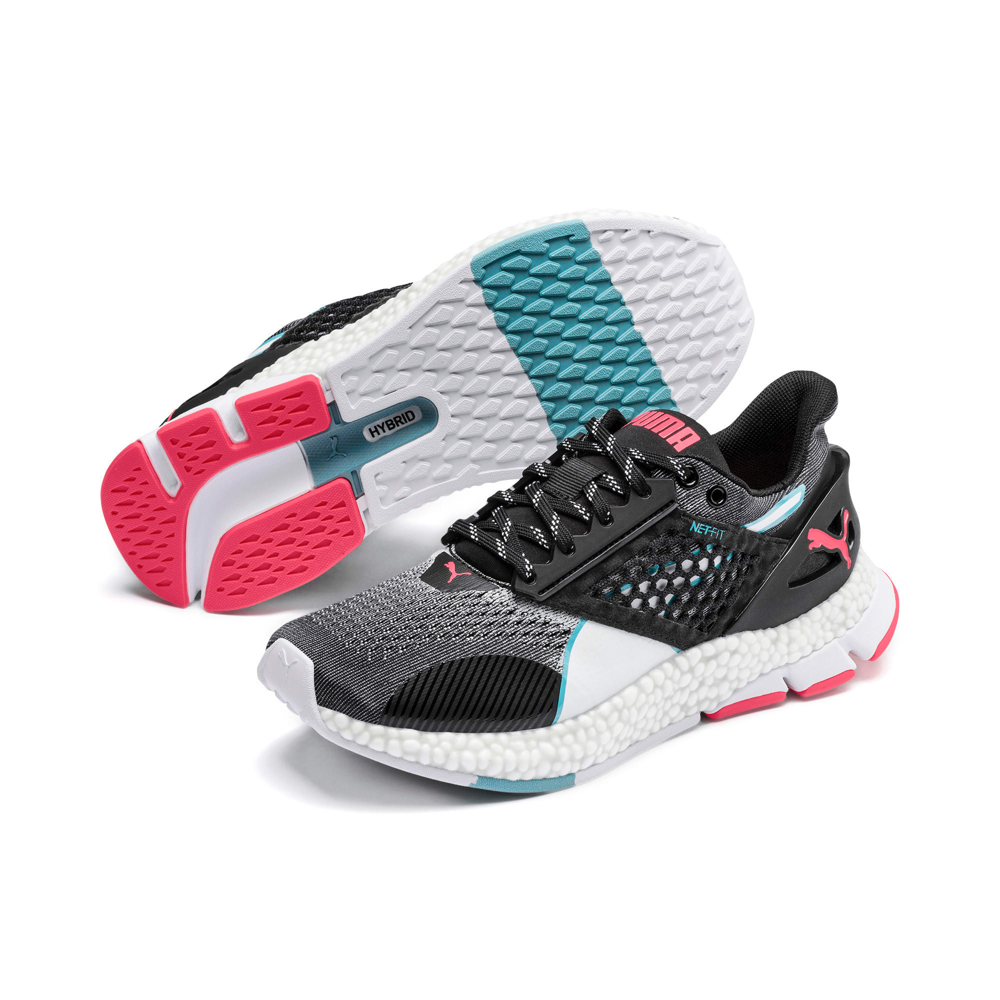 Thumbnail 3 of HYBRID NETFIT Astro Women's Running Shoes, Puma Black-Pink Alert, medium