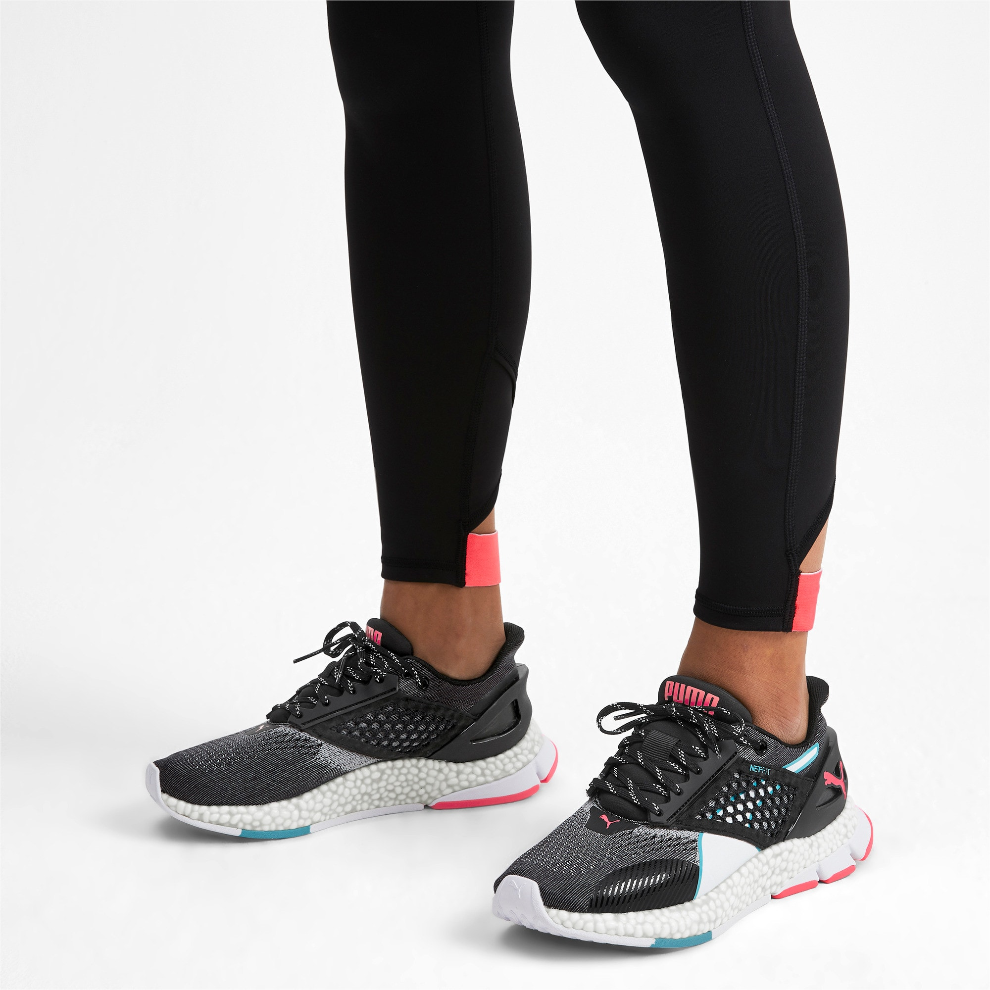 Thumbnail 2 of HYBRID NETFIT Astro Women's Running Shoes, Puma Black-Pink Alert, medium