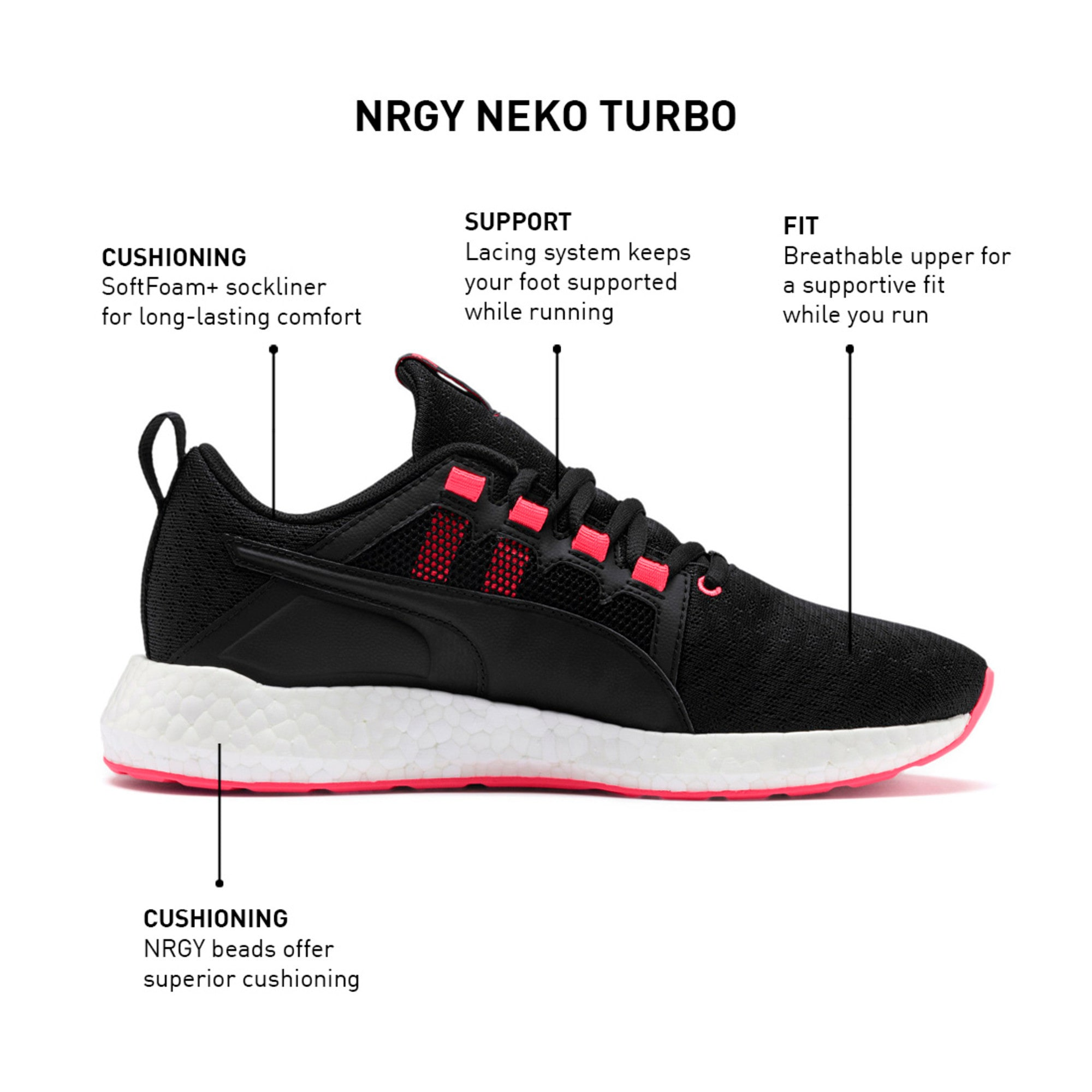 NRGY Neko Turbo Women's Trainers, Puma Black-Pink Alert, large-IND