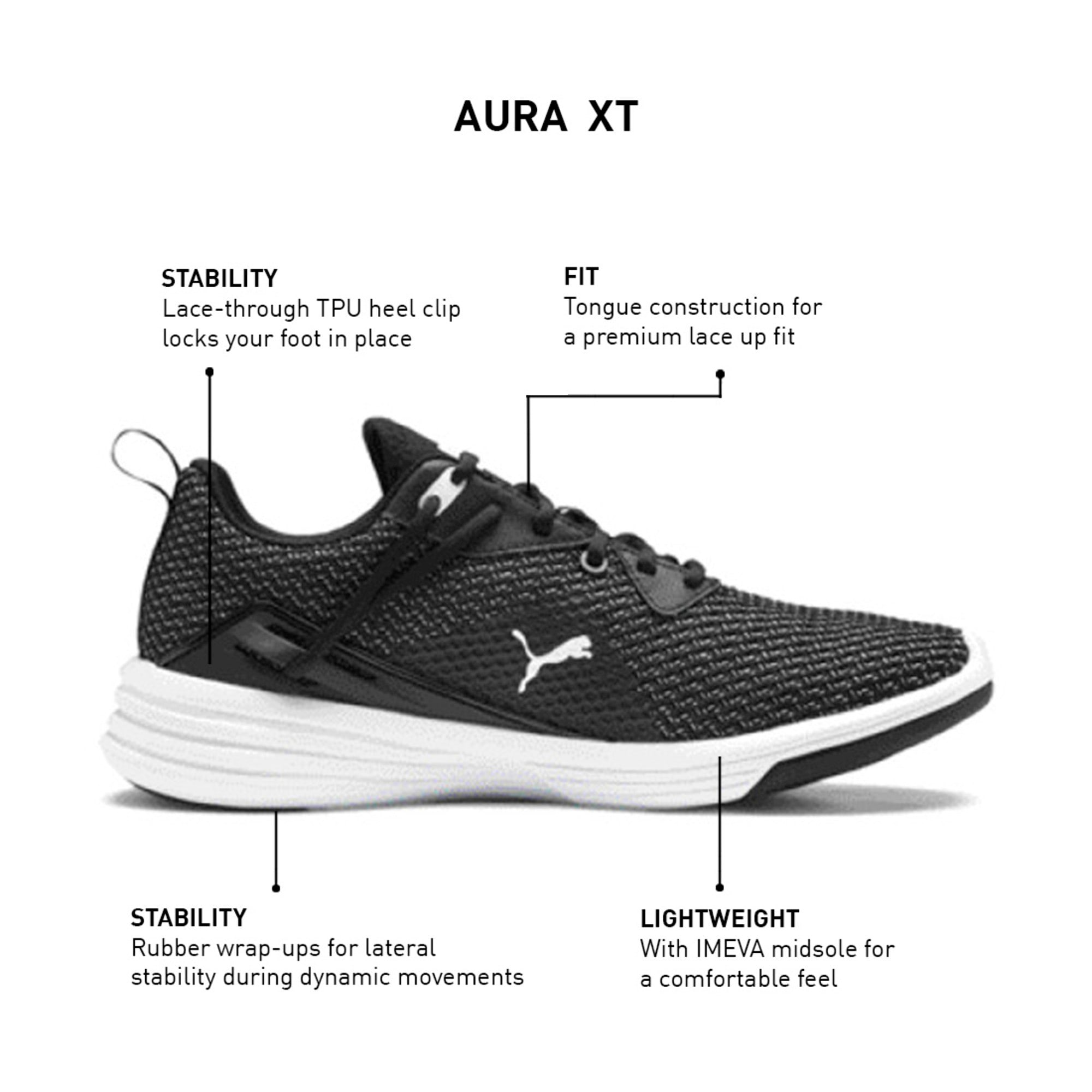 Thumbnail 9 of Aura XT Men's Trainers, Puma Black-Puma White, medium-IND