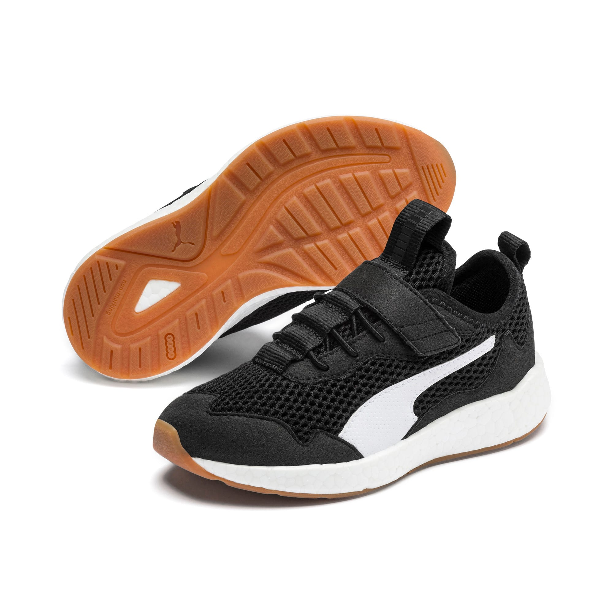 Thumbnail 2 of NRGY Neko Skim AC Kids' Trainers, Puma Black-Puma White, medium