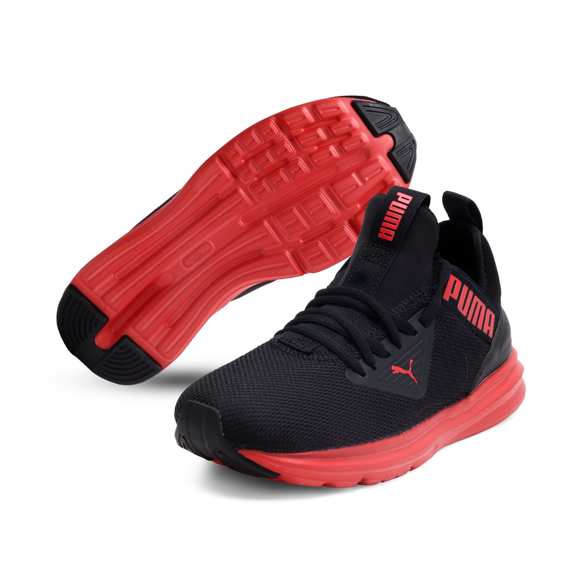 Thumbnail 2 of Enzo Beta SoftFoam Youth Trainers, Puma Black-High Risk Red, medium-IND
