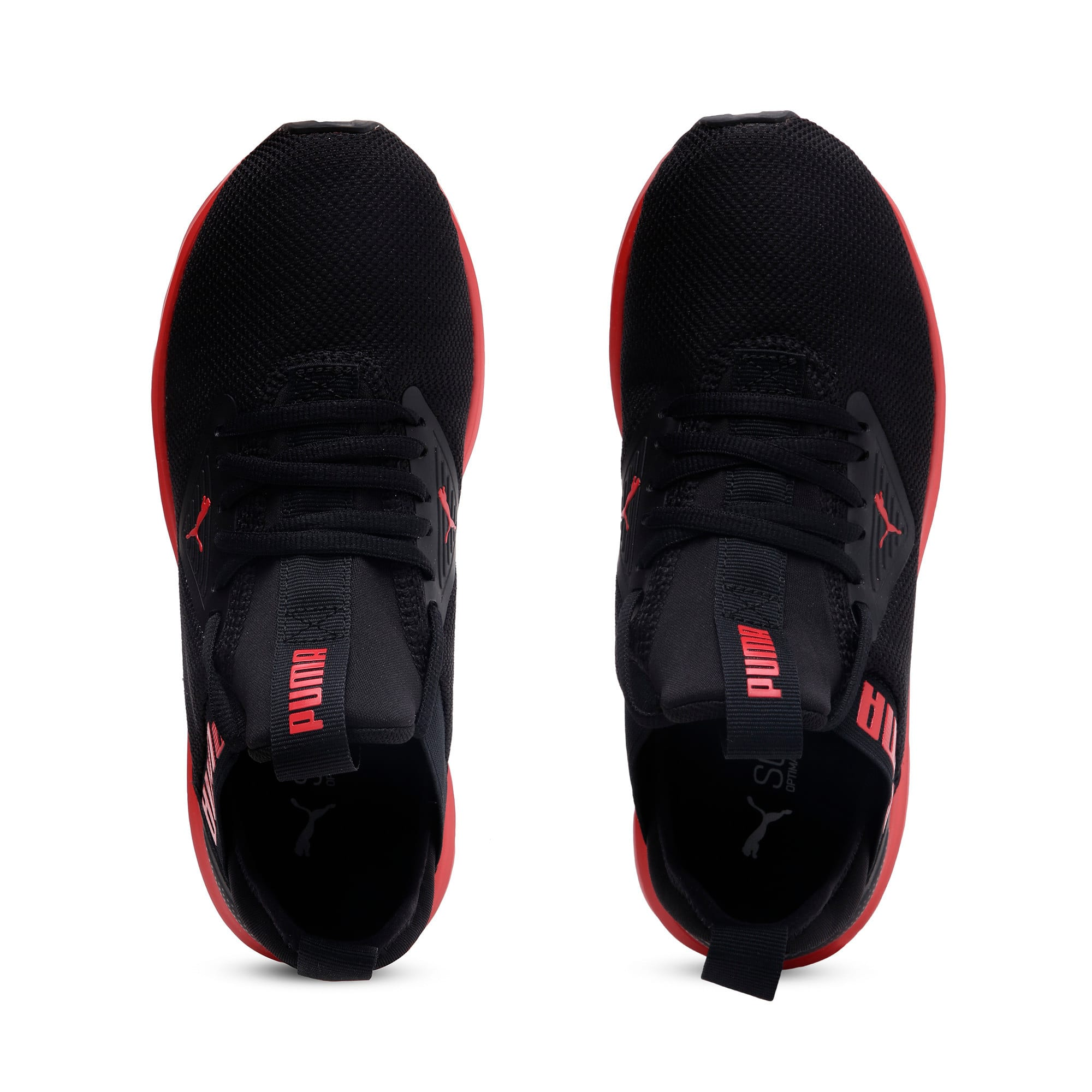 Thumbnail 6 of Enzo Beta SoftFoam Youth Trainers, Puma Black-High Risk Red, medium-IND