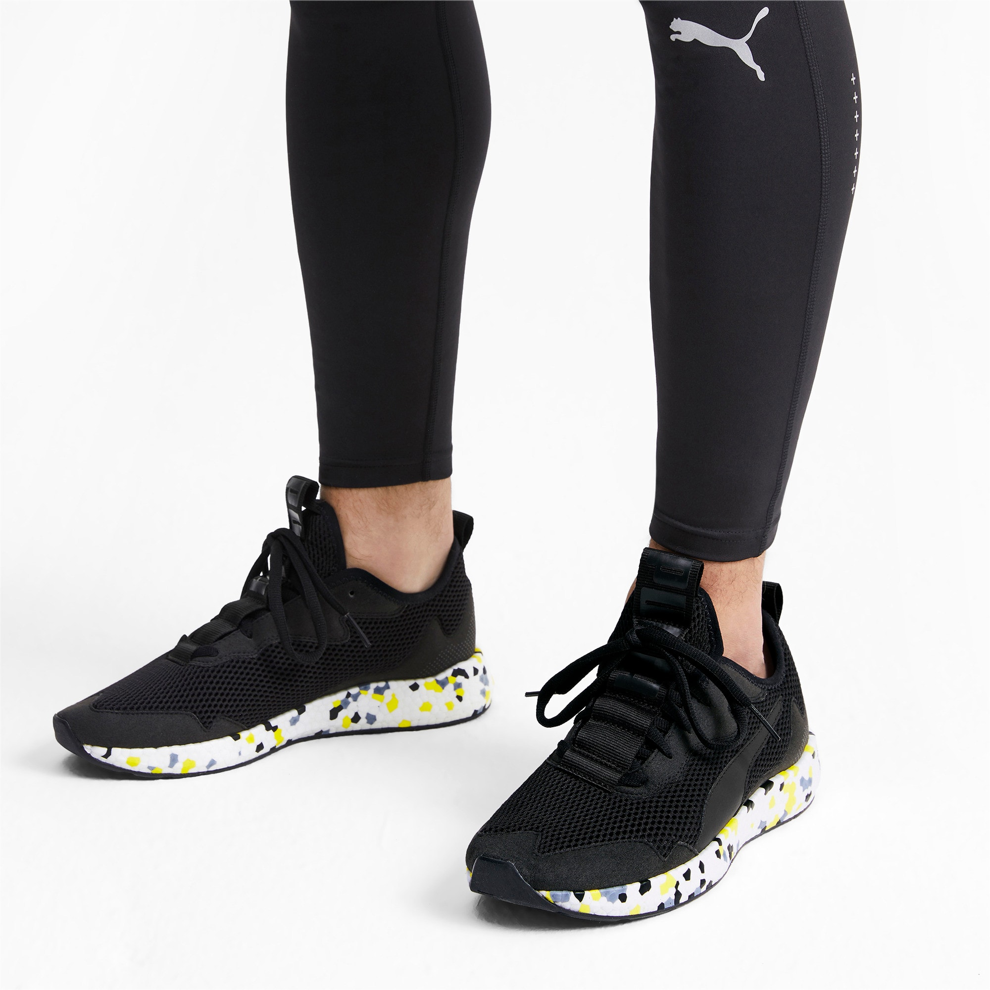 Thumbnail 2 of NRGY Neko Skim Men's Running Shoes, Puma Black-Yellow Alert, medium-IND
