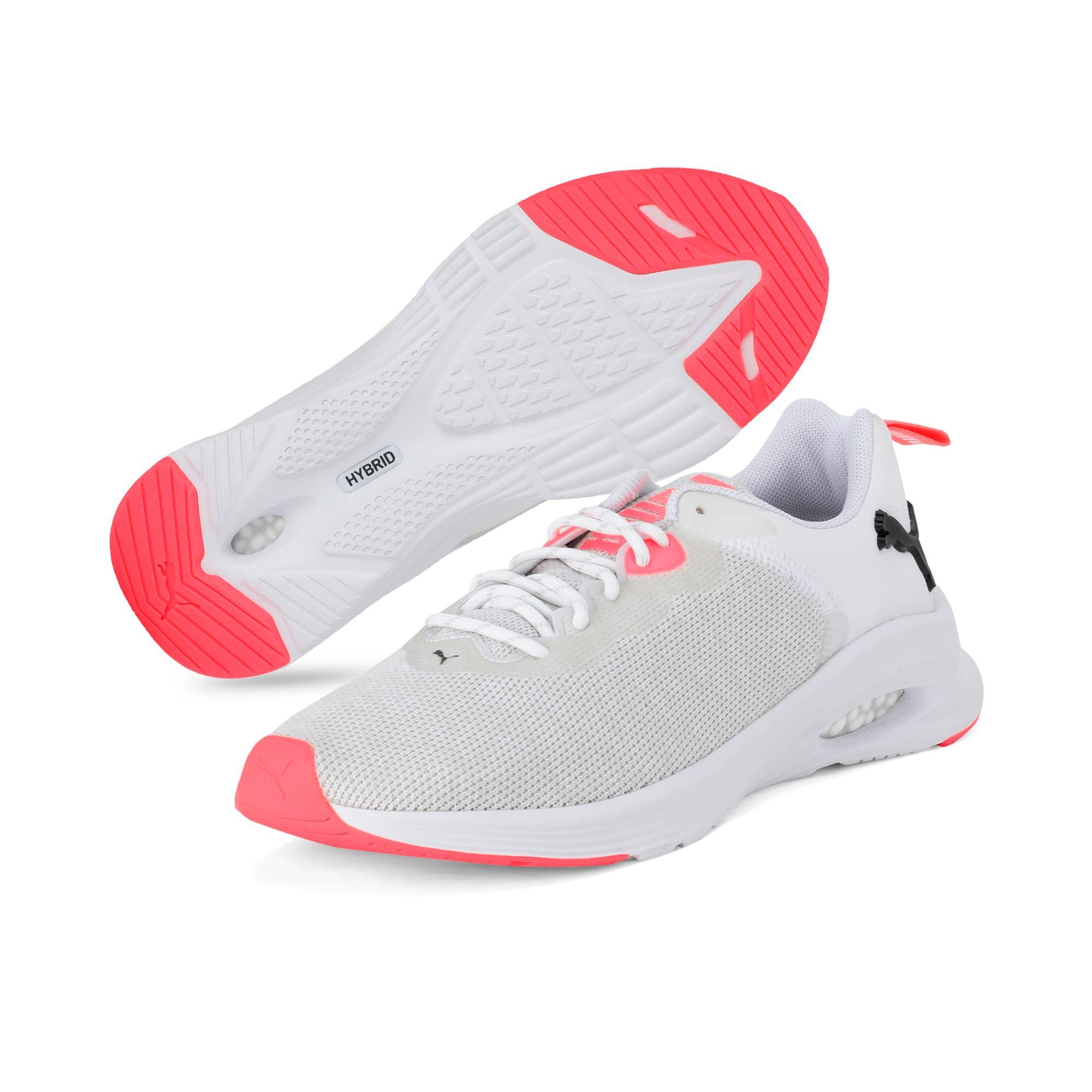 Thumbnail 2 of HYBRID Fuego Knit Women's Running Shoes, Puma White-Pnk Alert-Pma Blk, medium-IND